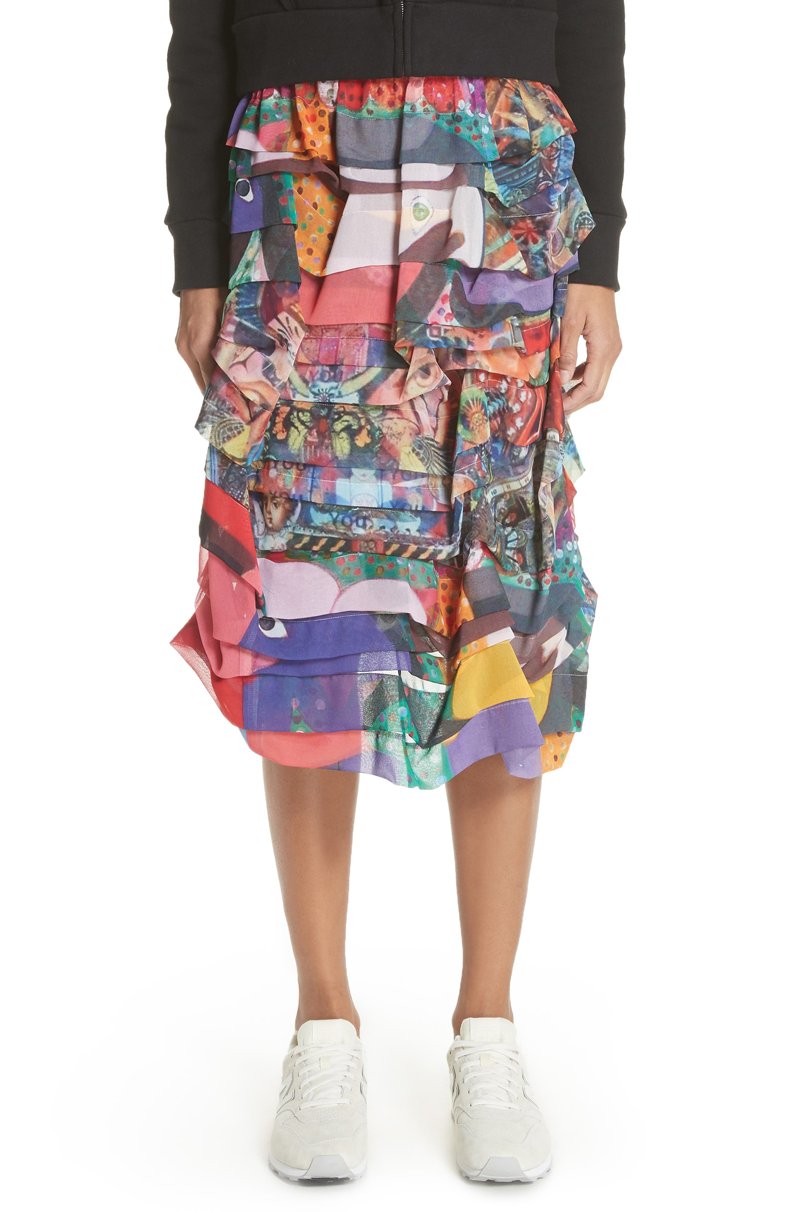 Print Tiered Skirt,                         Main,                         color, R2 Pattern