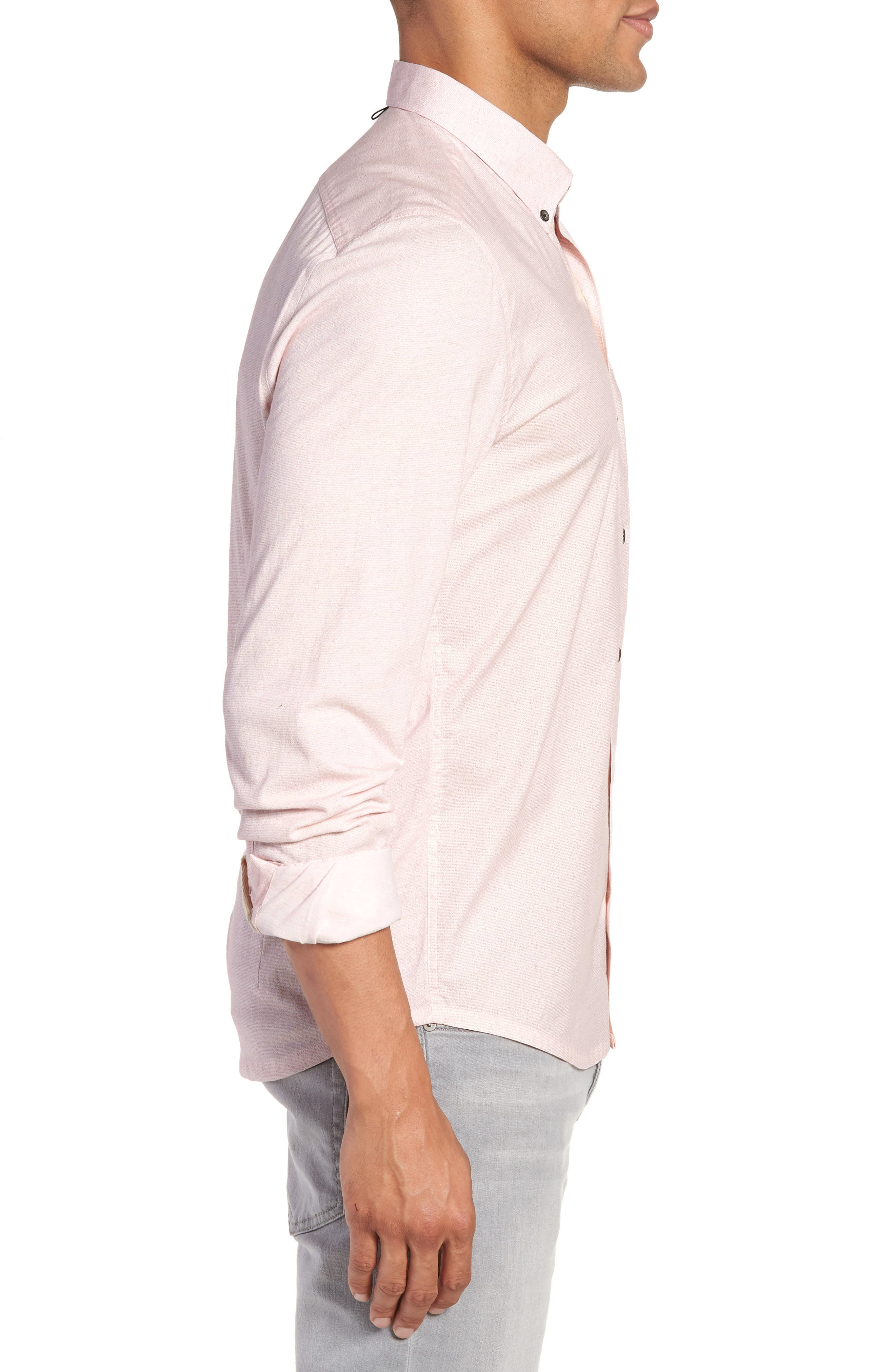 Reworked Slim Fit Speckled Sport Shirt,                             Alternate thumbnail 3, color,                             Pink