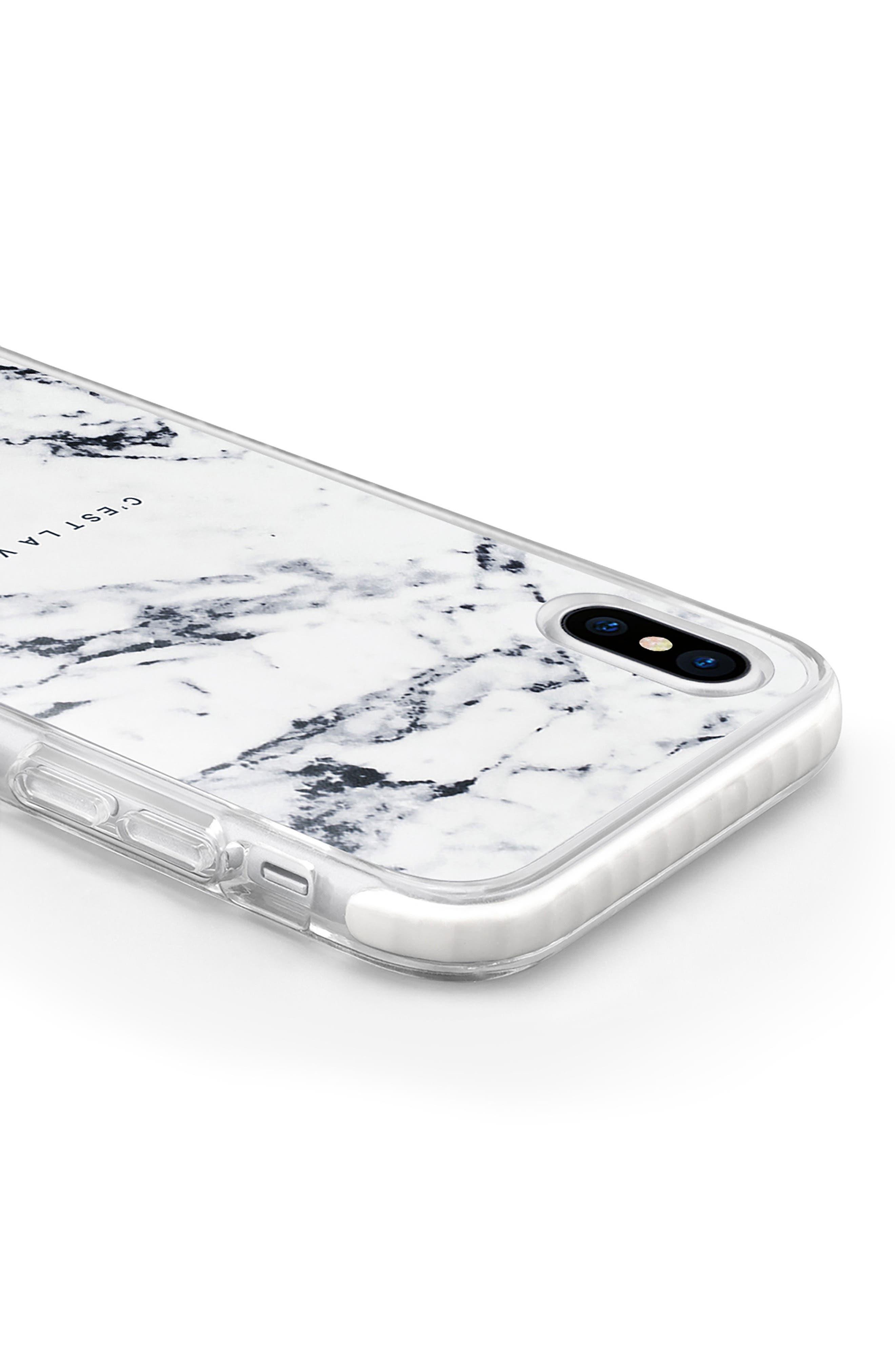 C'est la Vie Marble iPhone X Case,                             Alternate thumbnail 4, color,                             White Marble