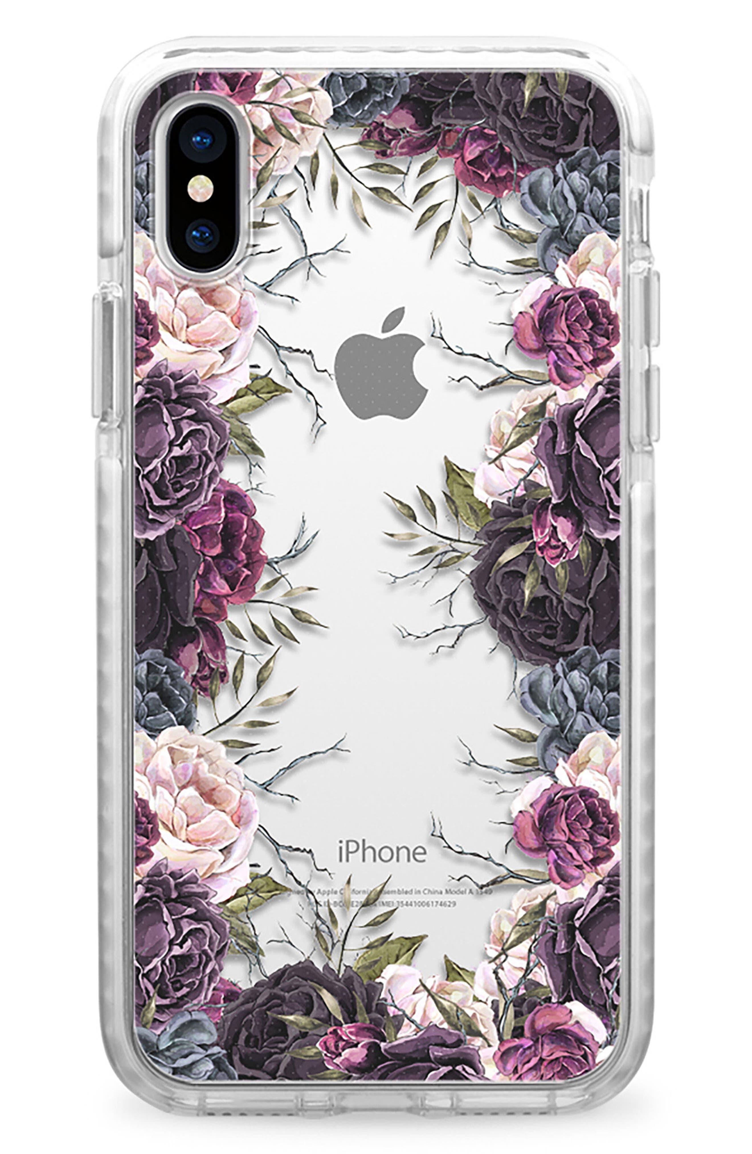 My Secret Garden Transparent iPhone X Case,                             Main thumbnail 1, color,                             Purple