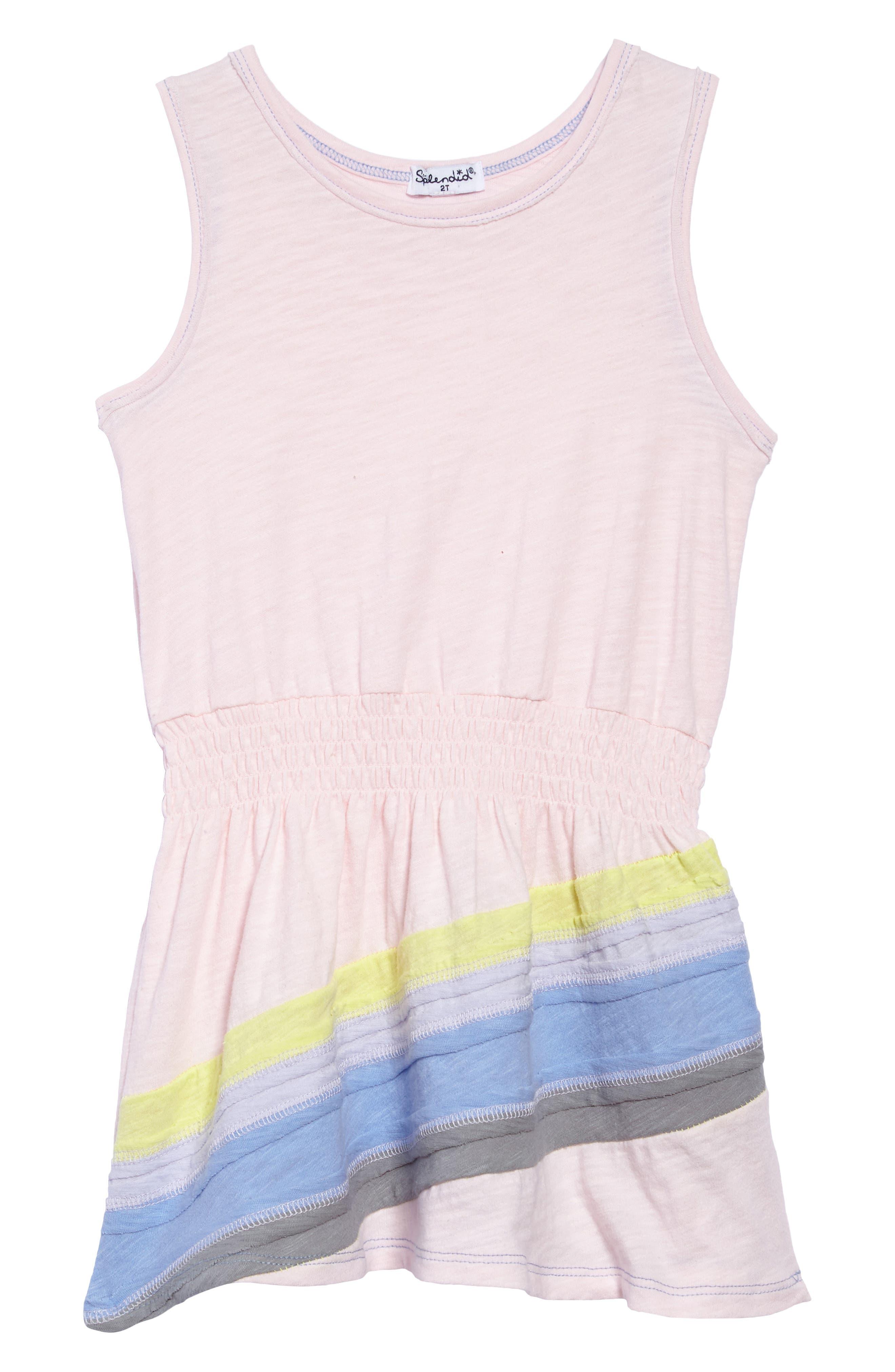 Splendid Rainbow Stripe Tank Dress (Toddler Girls, Little Girls & Big Girls)