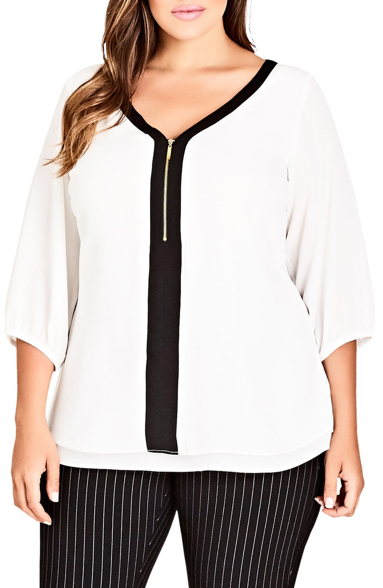 Zip Front Top,                         Main,                         color, Ivory