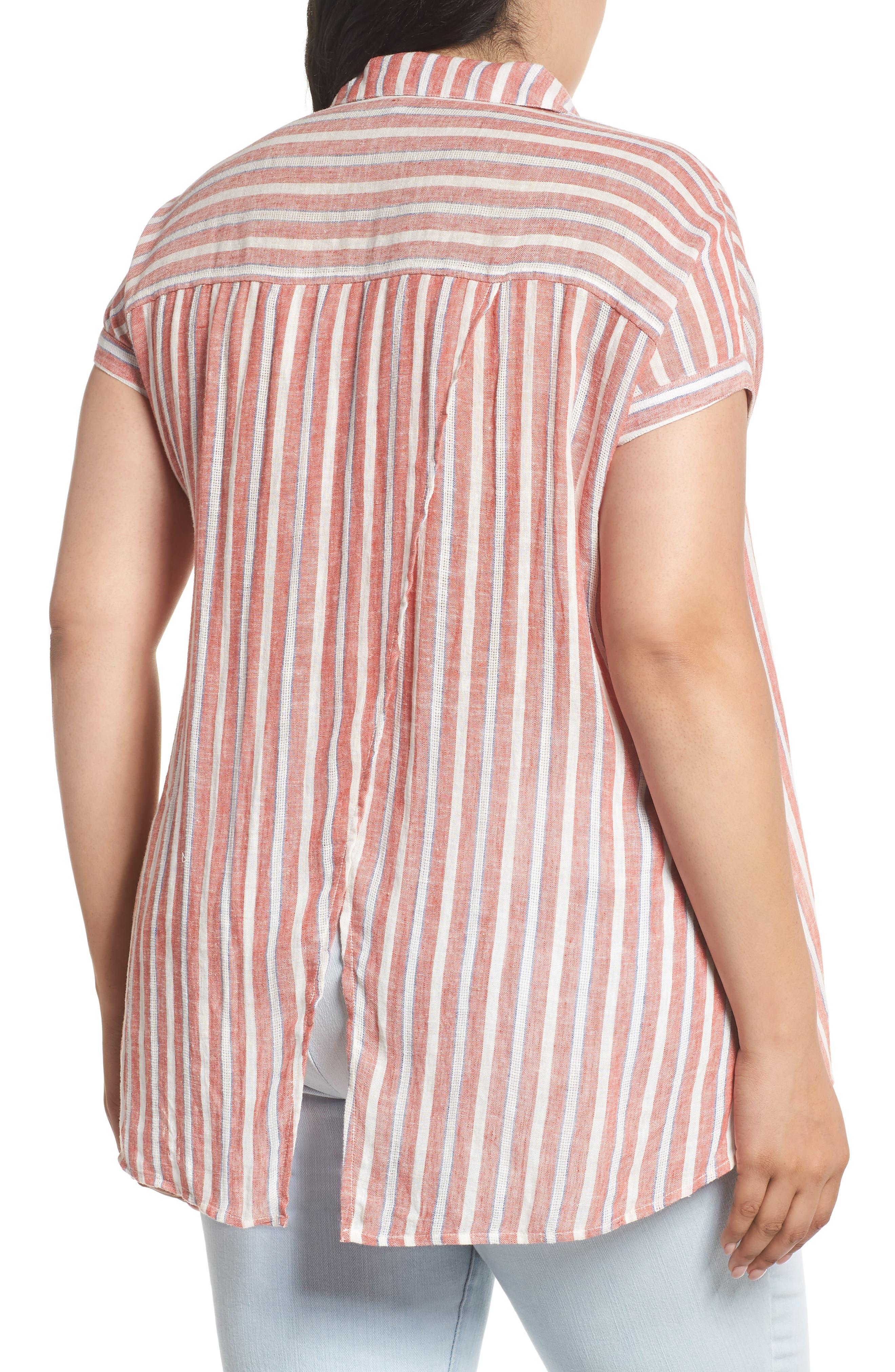 Tie Back Stripe Shirt,                             Alternate thumbnail 2, color,                             Red Multi