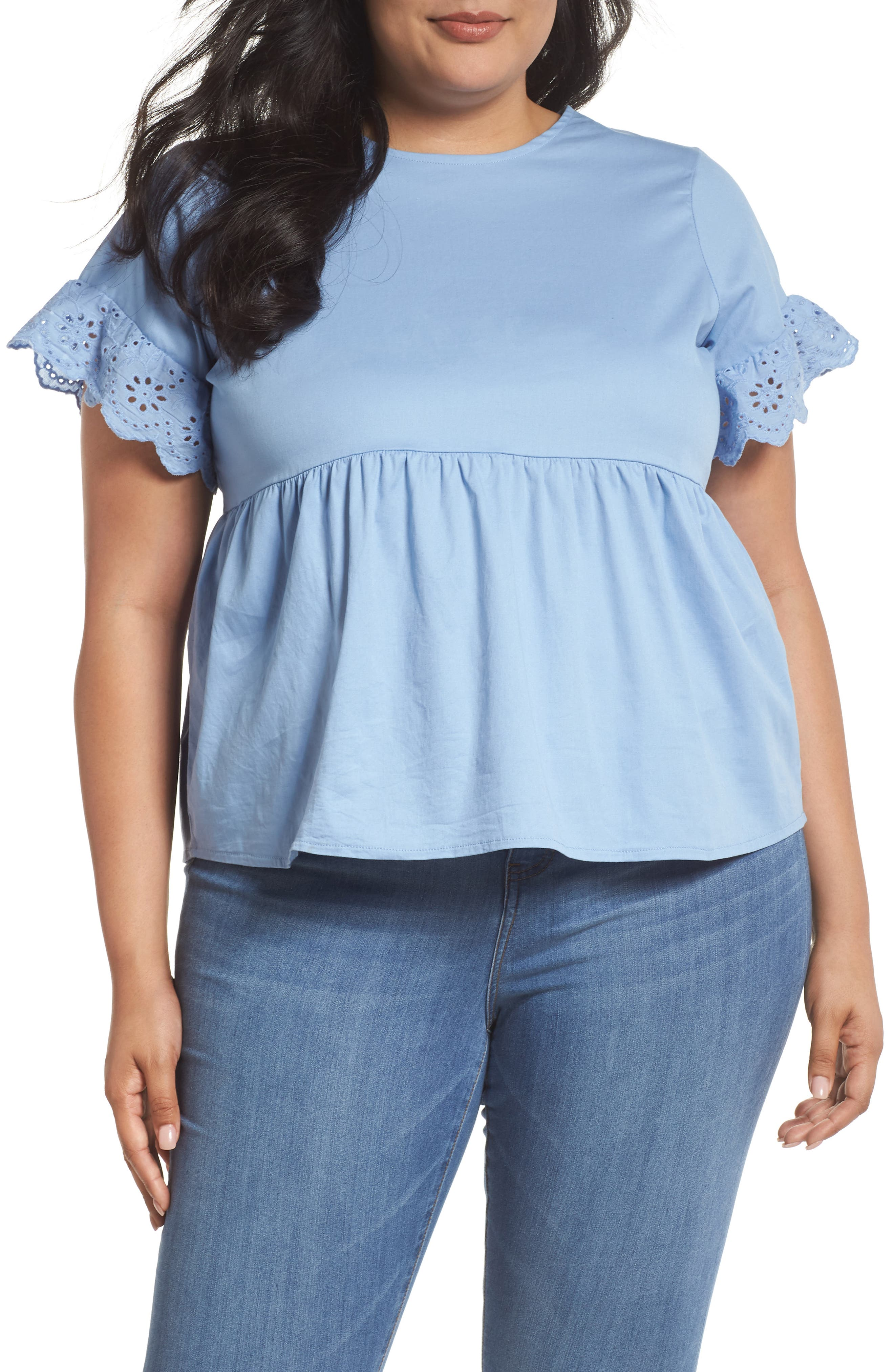 Daisy Trim Swing Top,                             Main thumbnail 1, color,                             Blue