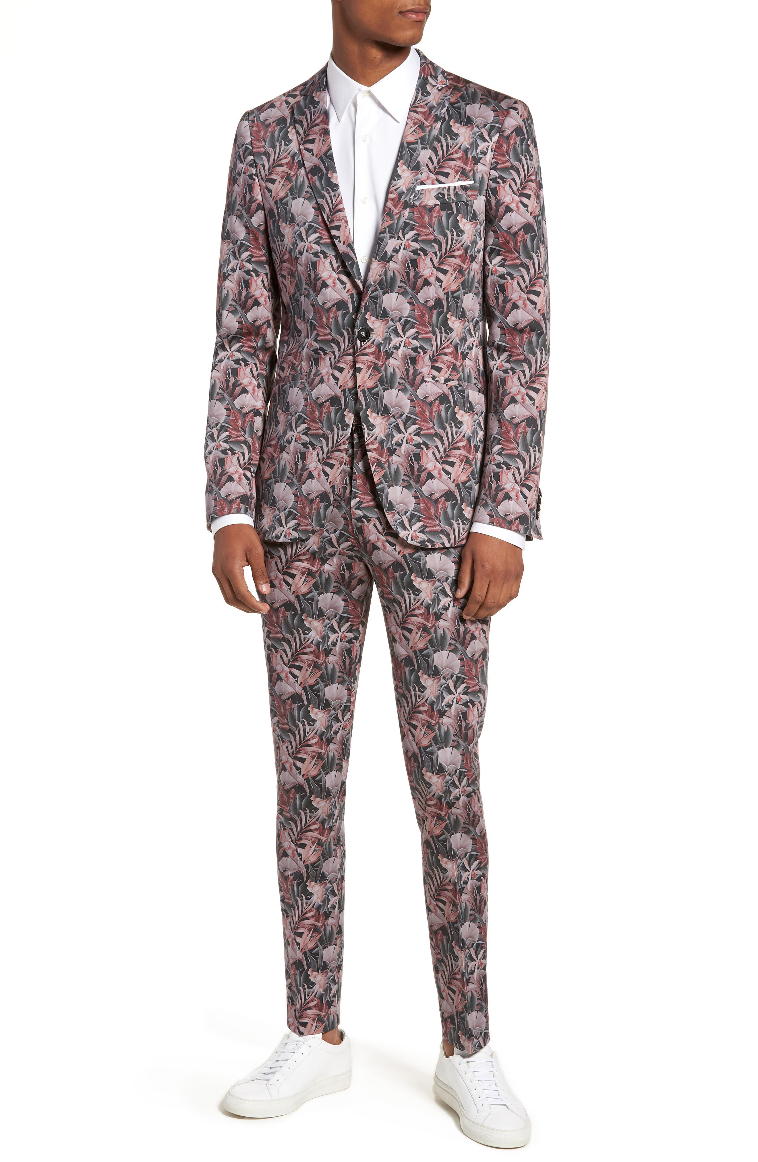 Ultra Skinny Fit Hibiscus Print Suit Trousers,                             Alternate thumbnail 7, color,                             Pink Multi