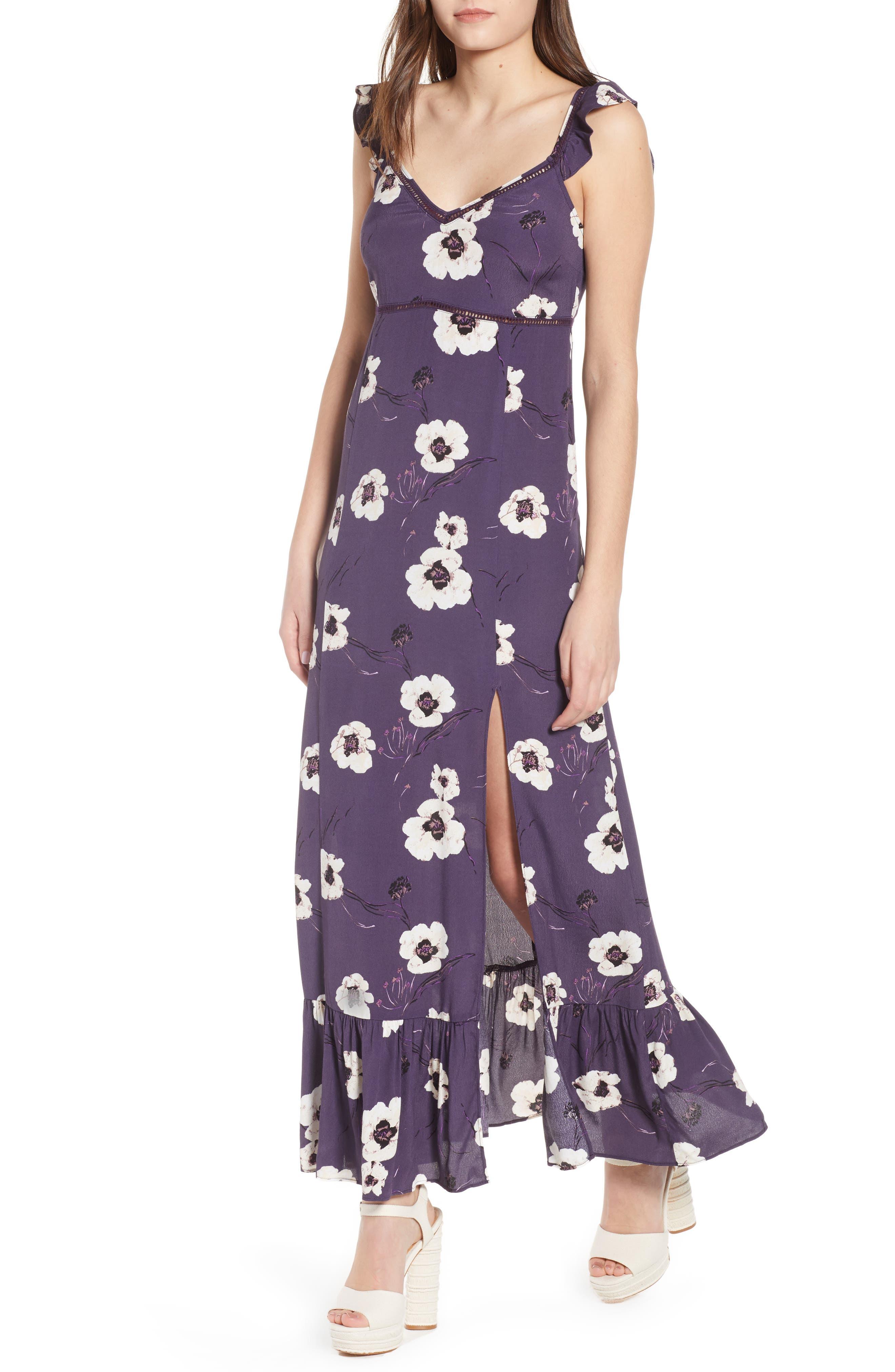 Ruffle Maxi Dress,                         Main,                         color, Purple Night Painterly Floral