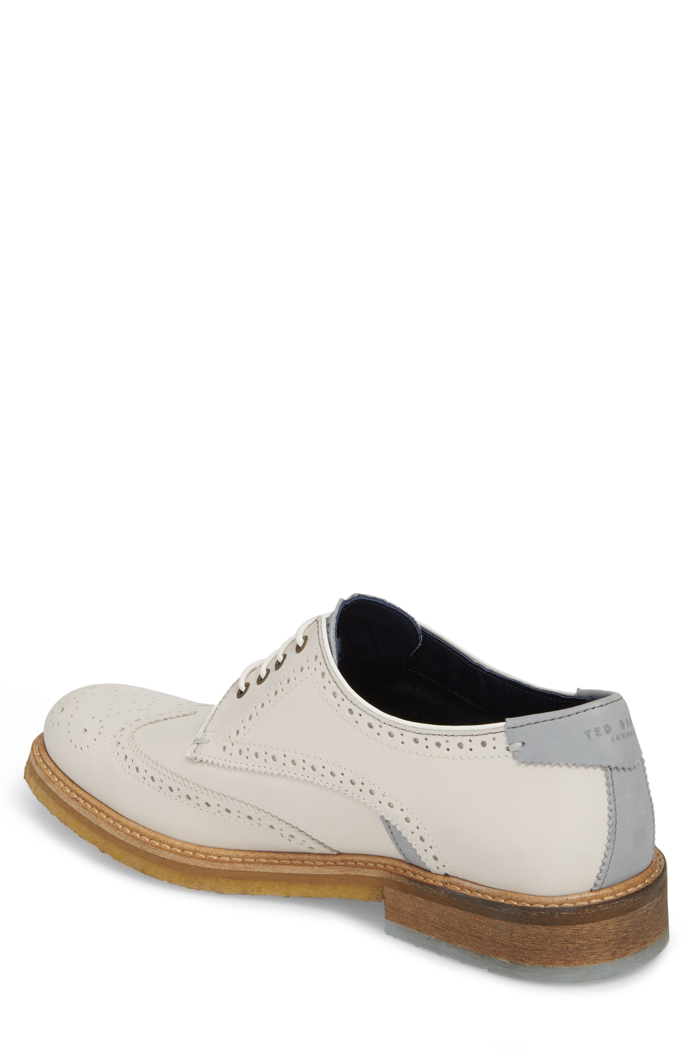 Prycce Wingtip Derby,                             Alternate thumbnail 2, color,                             White Suede