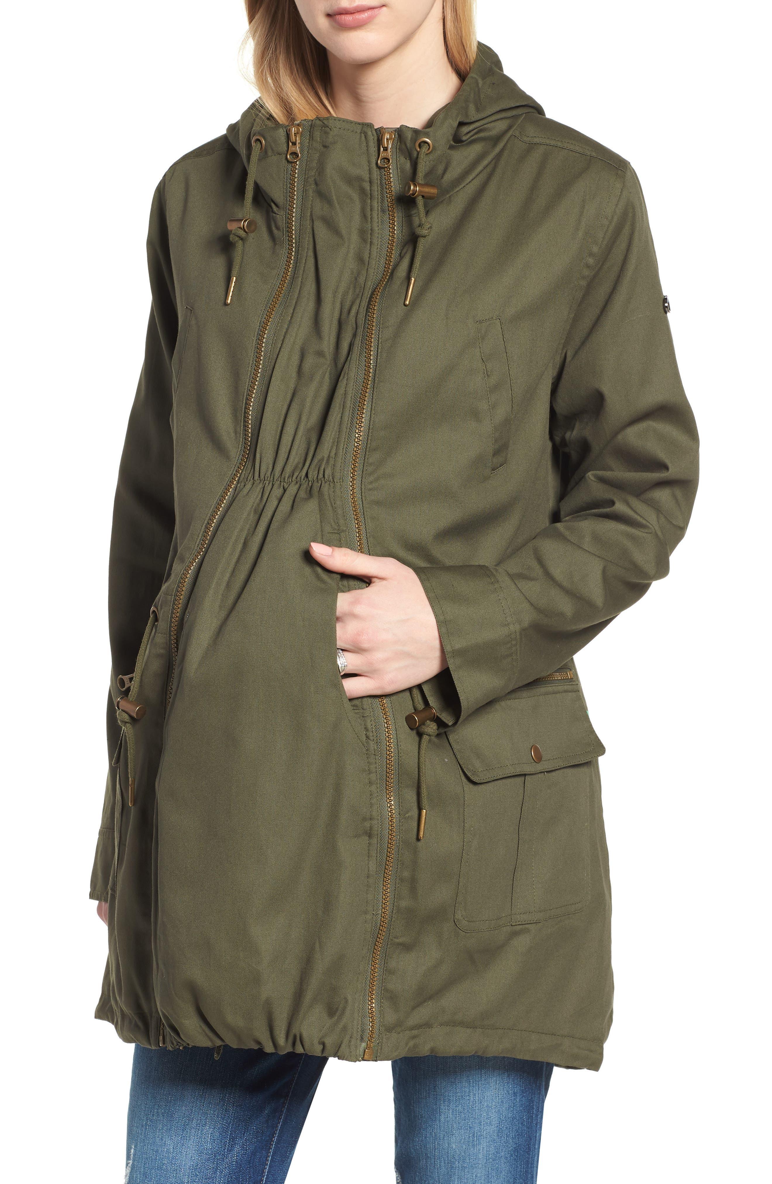 Convertible Military 3-in-1 Maternity/Nursing Jacket,                         Main,                         color, Khaki Green