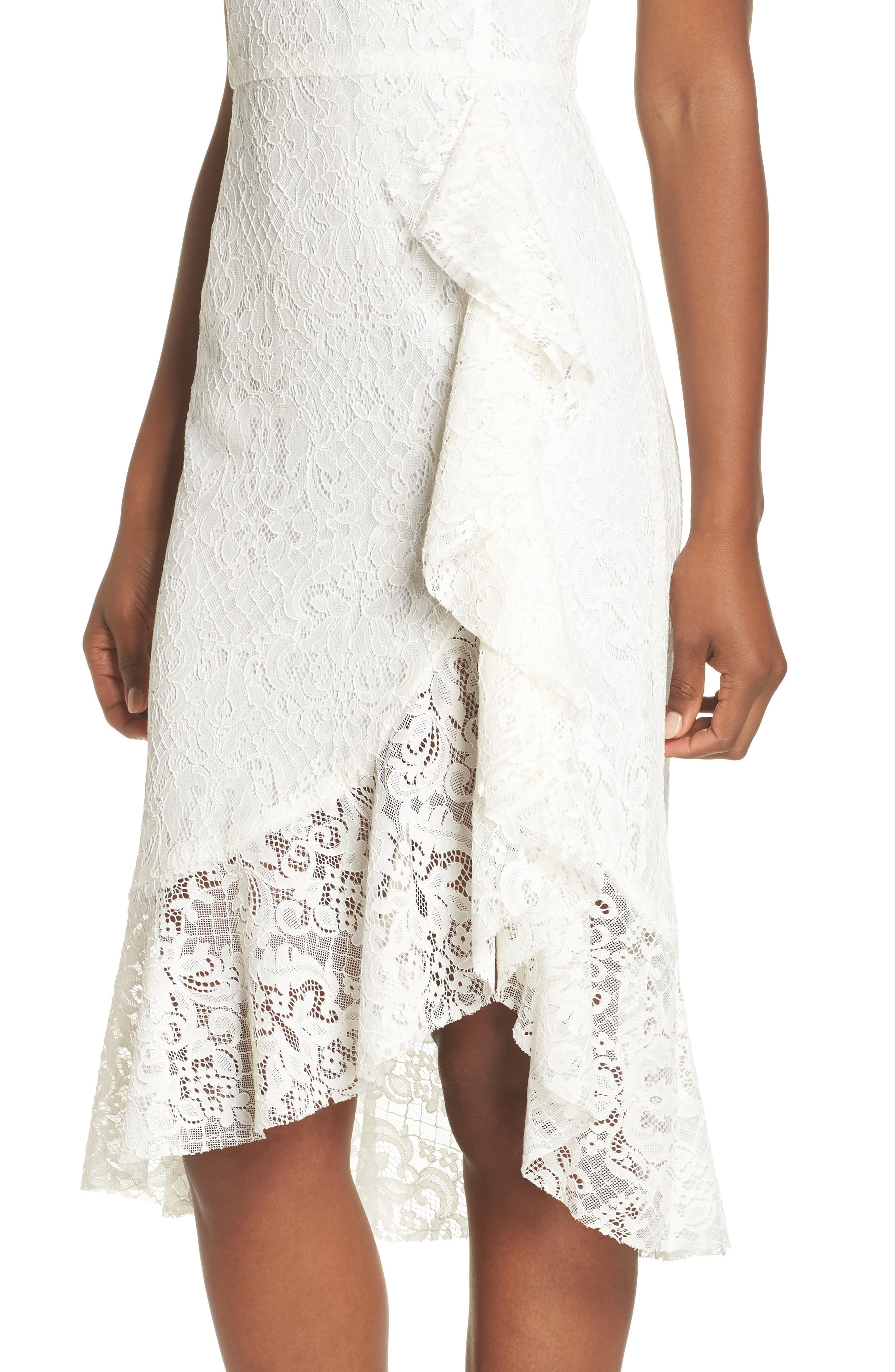Ruffle Lace Dress,                             Alternate thumbnail 4, color,                             Off White
