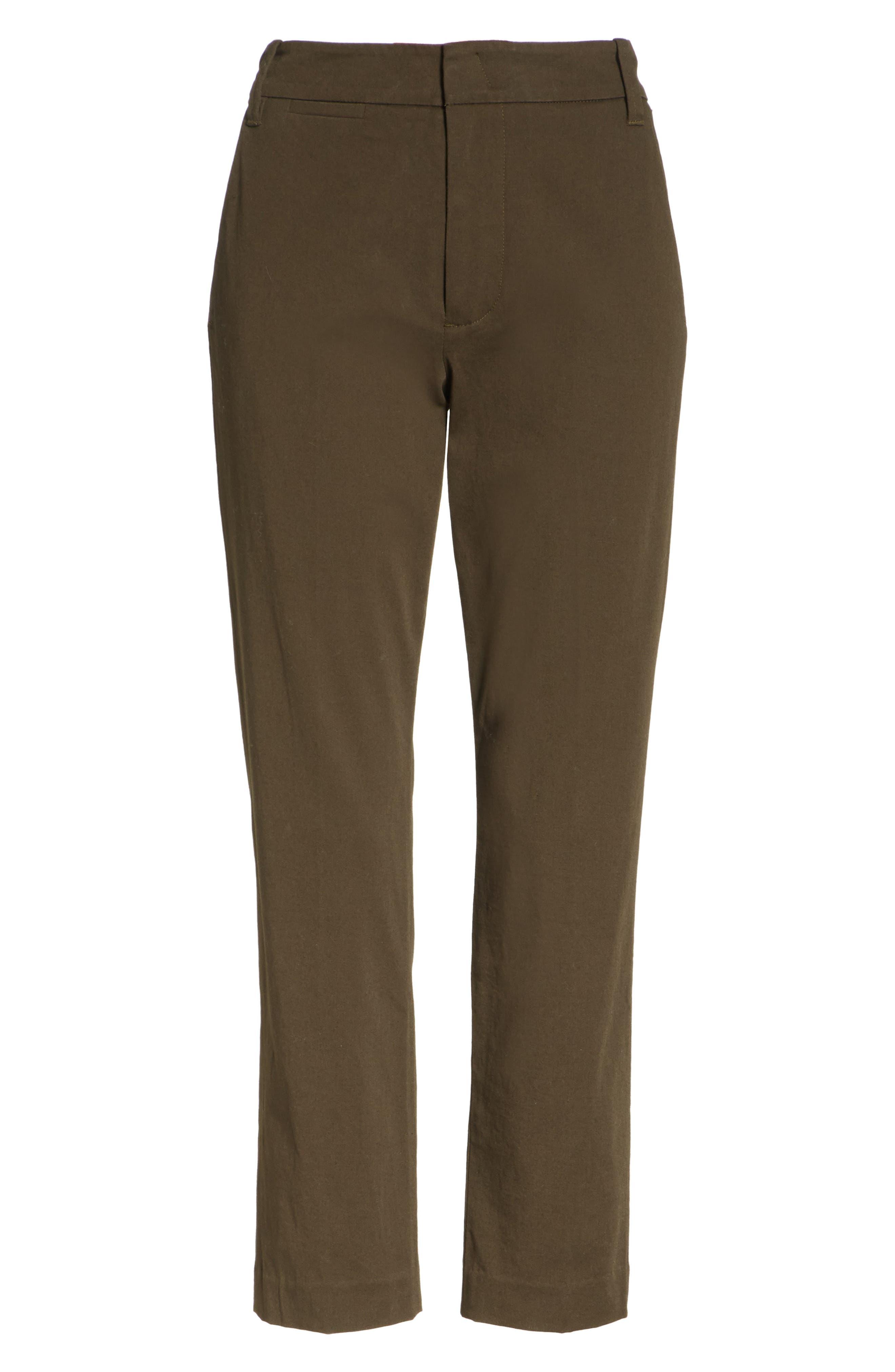 Crop Chino Pants,                             Alternate thumbnail 6, color,                             Pinon Green