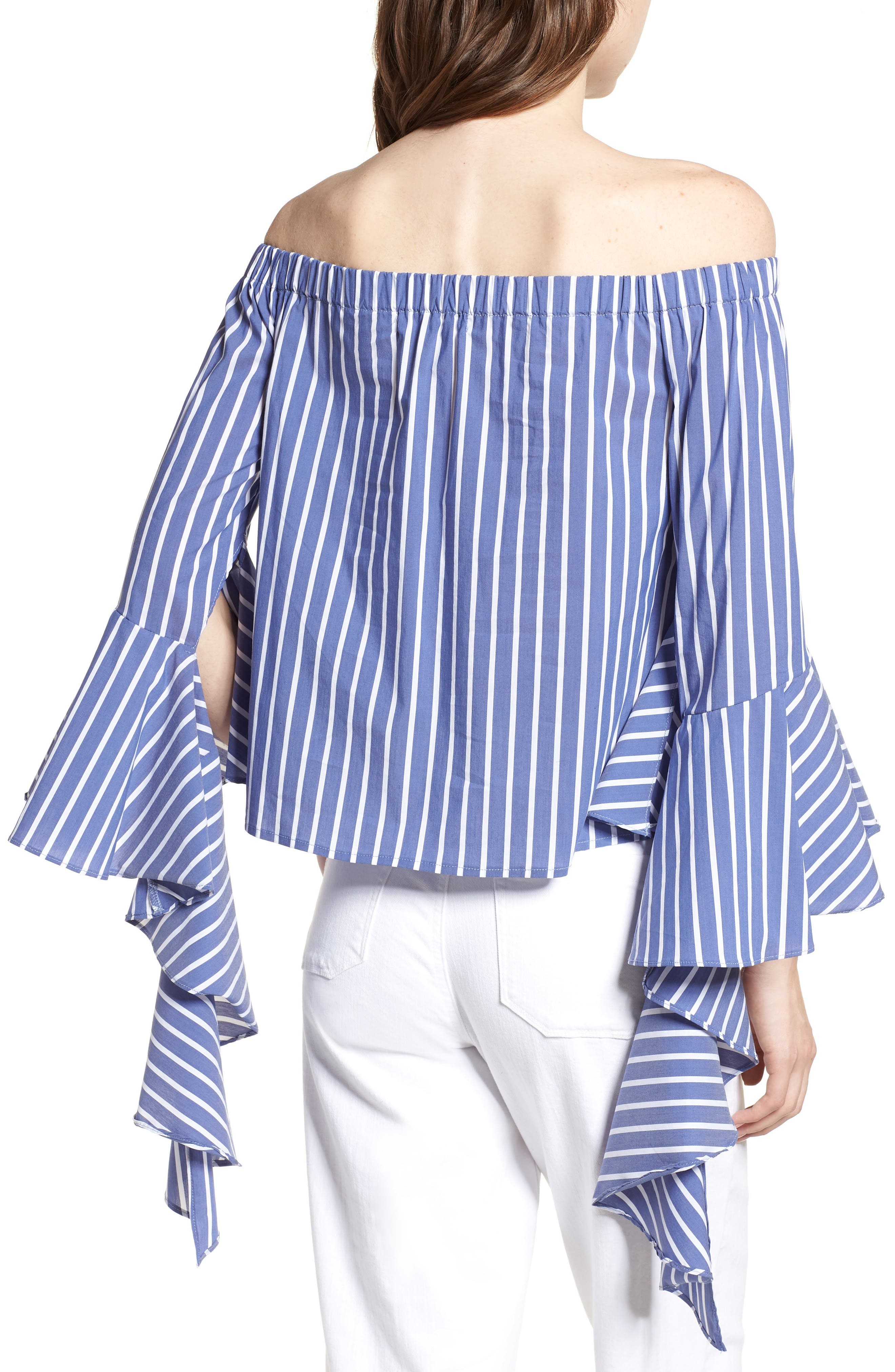 Bishop + Young Gigi Ruffle Sleeve Off the Shoulder Top,                             Alternate thumbnail 2, color,                             Blue White Stripe
