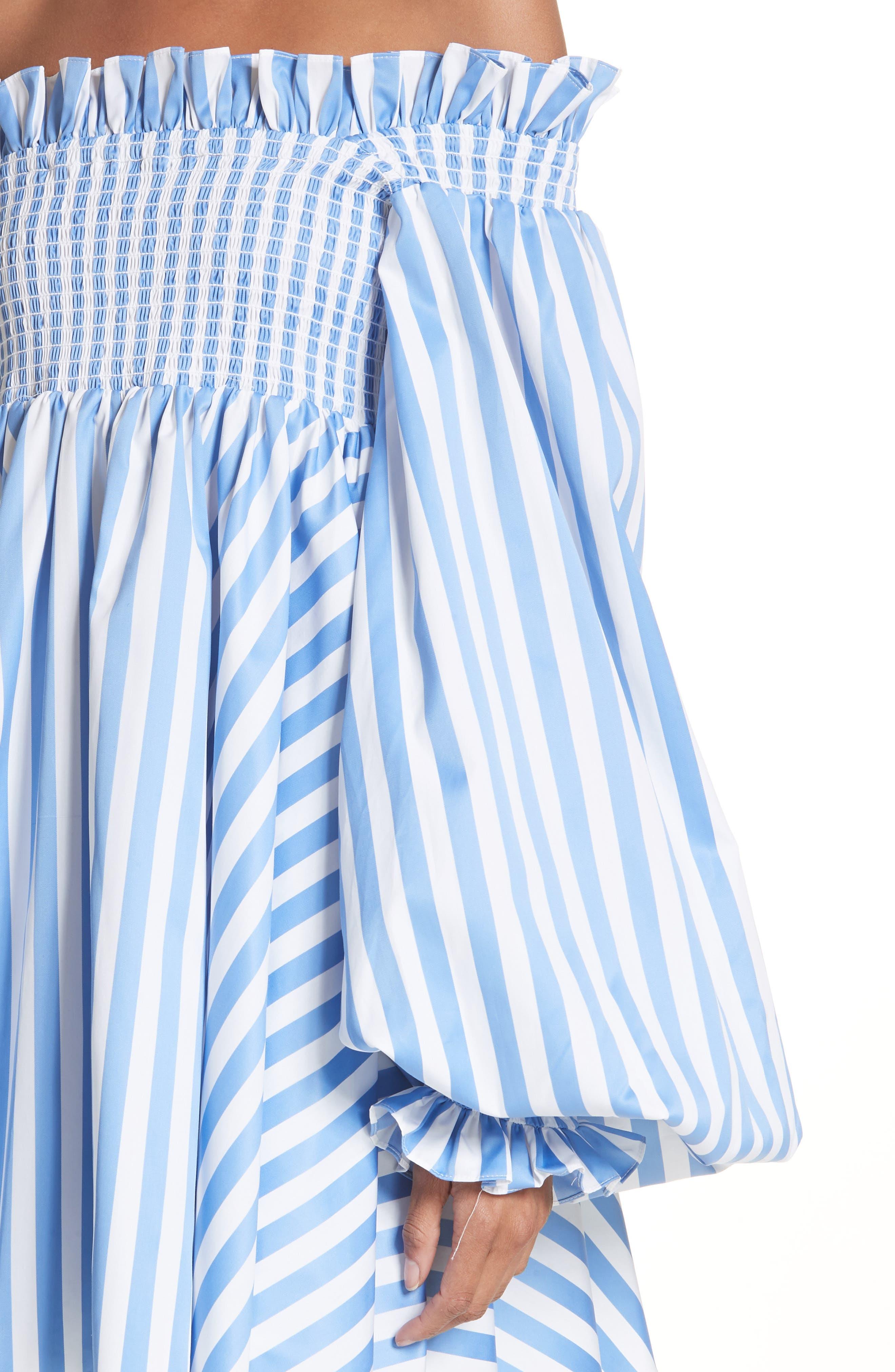 Kora Stripe Off the Shoulder Dress,                             Alternate thumbnail 4, color,                             Blue/ White