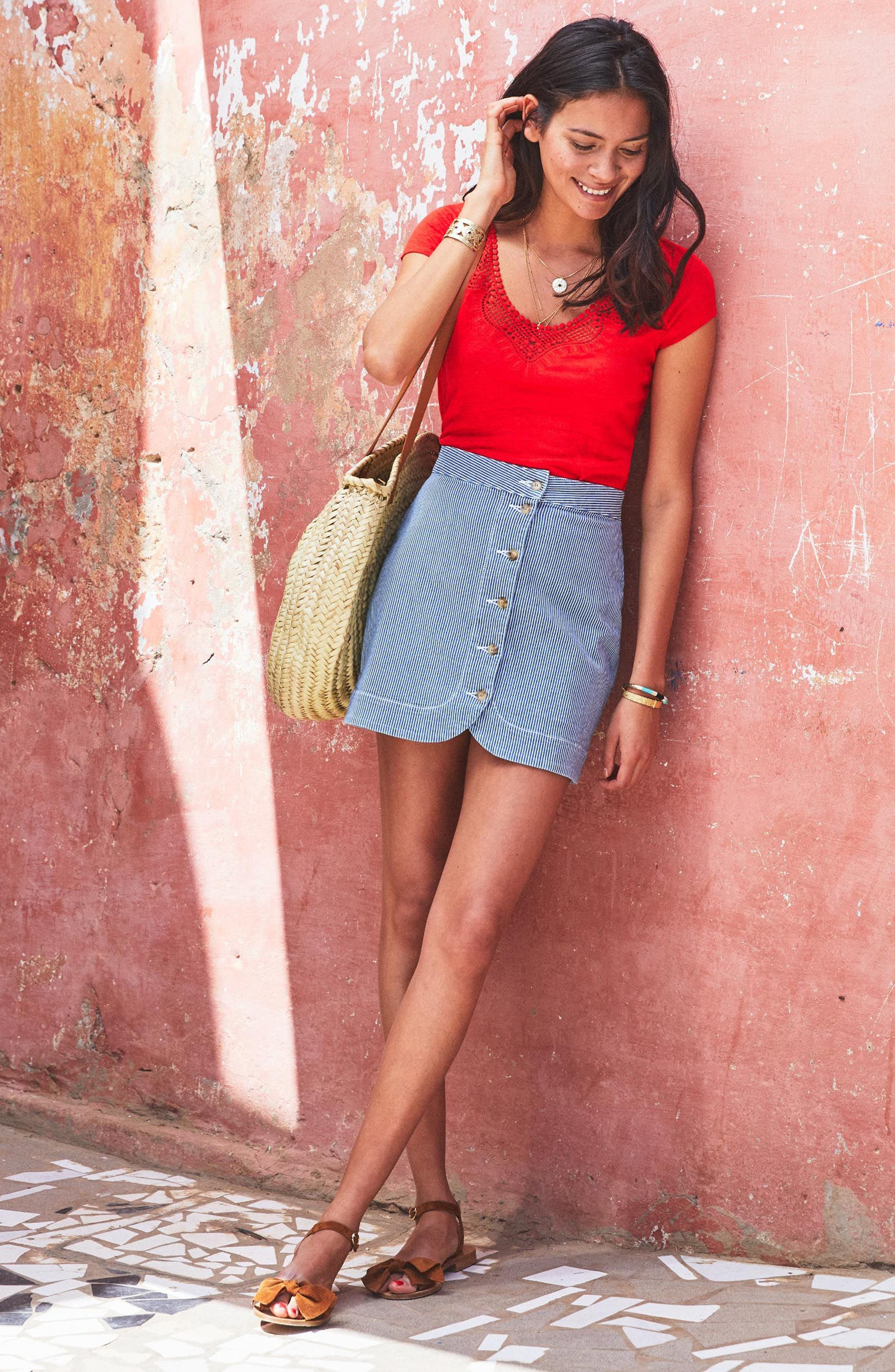 Loly Crochet Neck Linen Tee,                             Alternate thumbnail 2, color,                             Coral Red