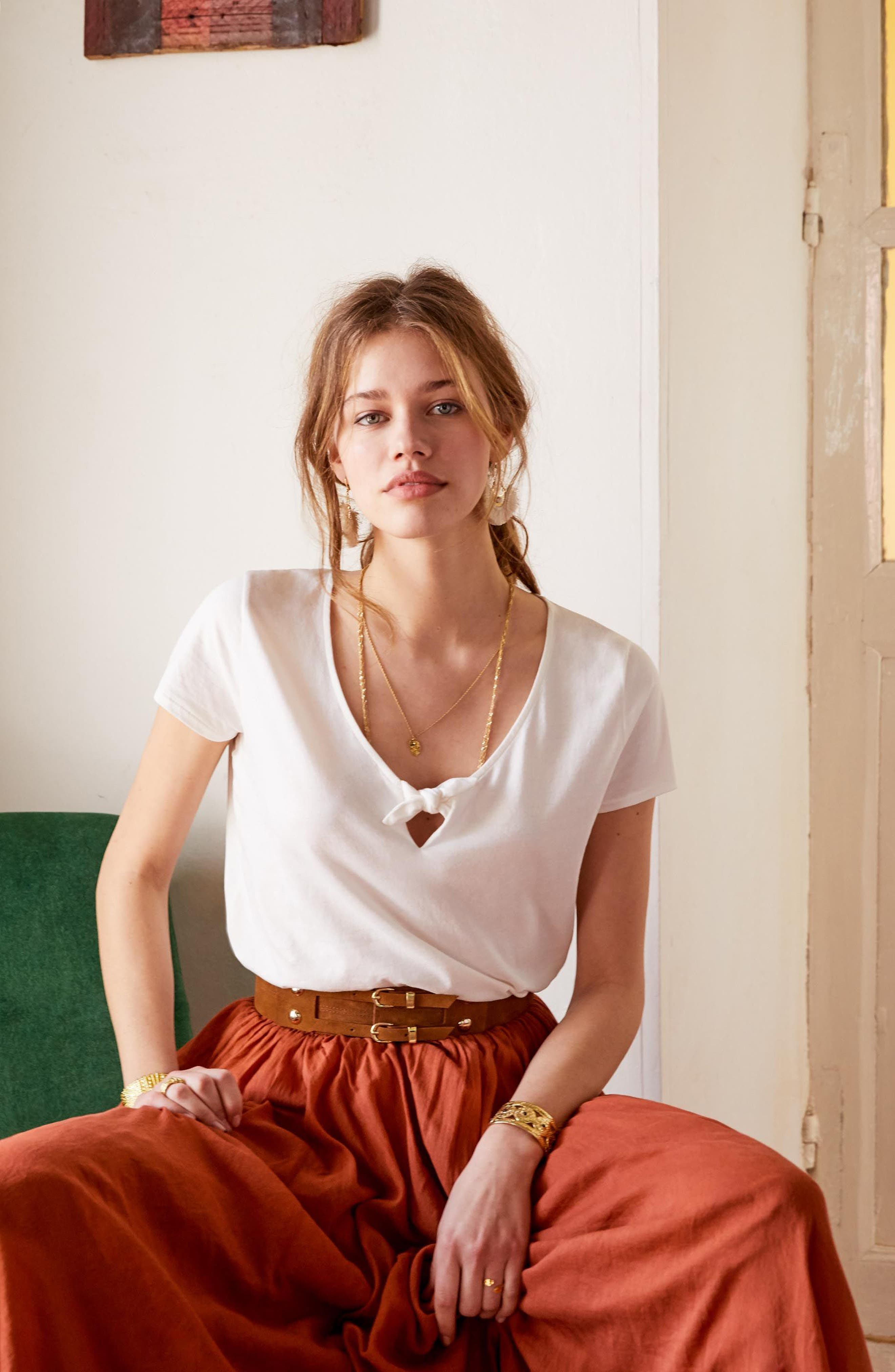 Lilian Tie Scoop Neck Tee,                             Alternate thumbnail 2, color,                             Off White
