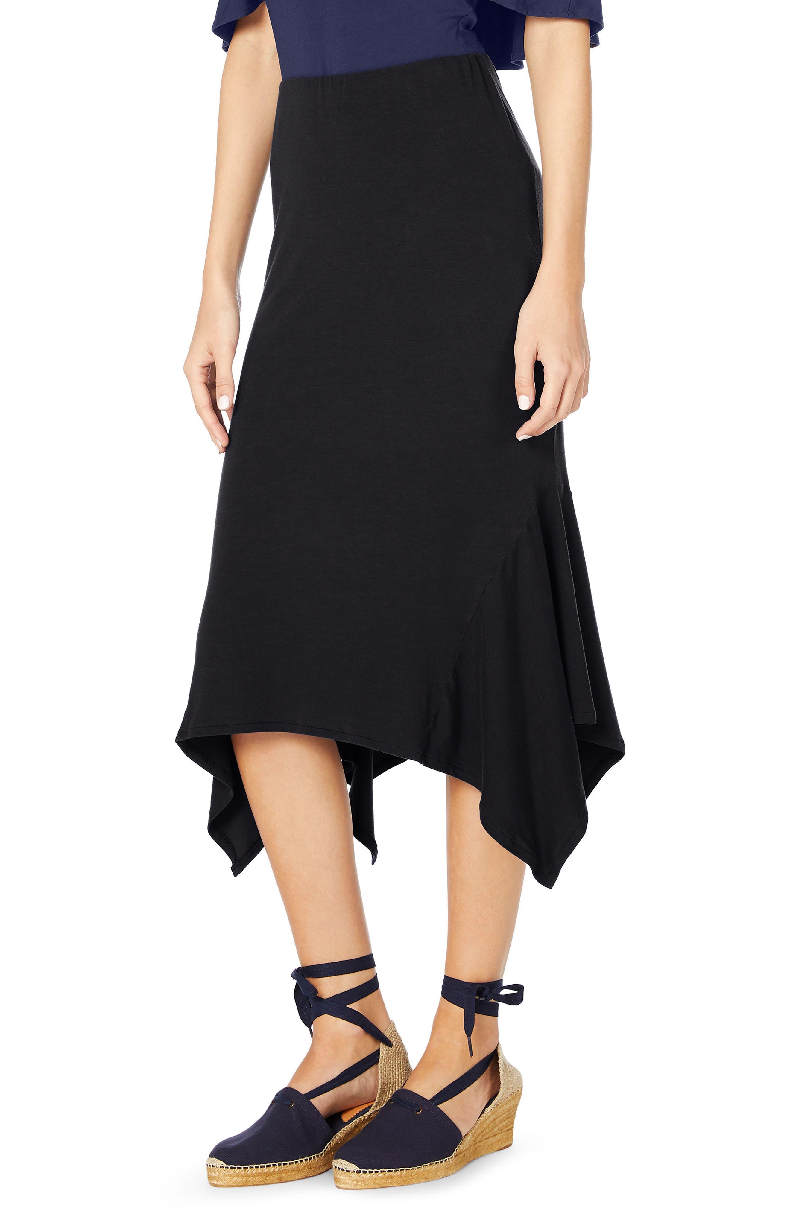 Sharkbite Midi Skirt,                             Alternate thumbnail 3, color,                             Black