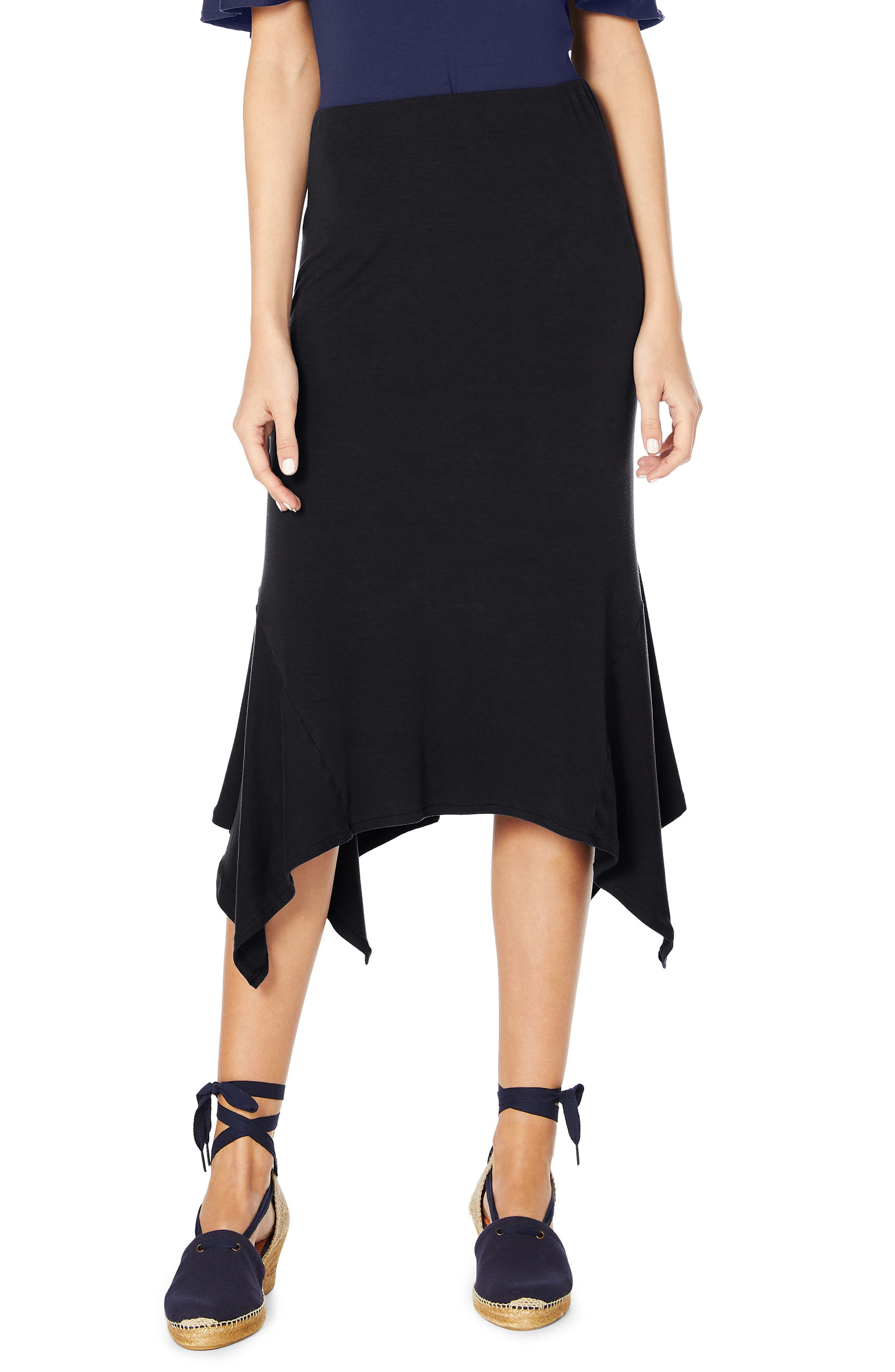 Sharkbite Midi Skirt,                             Main thumbnail 1, color,                             Black