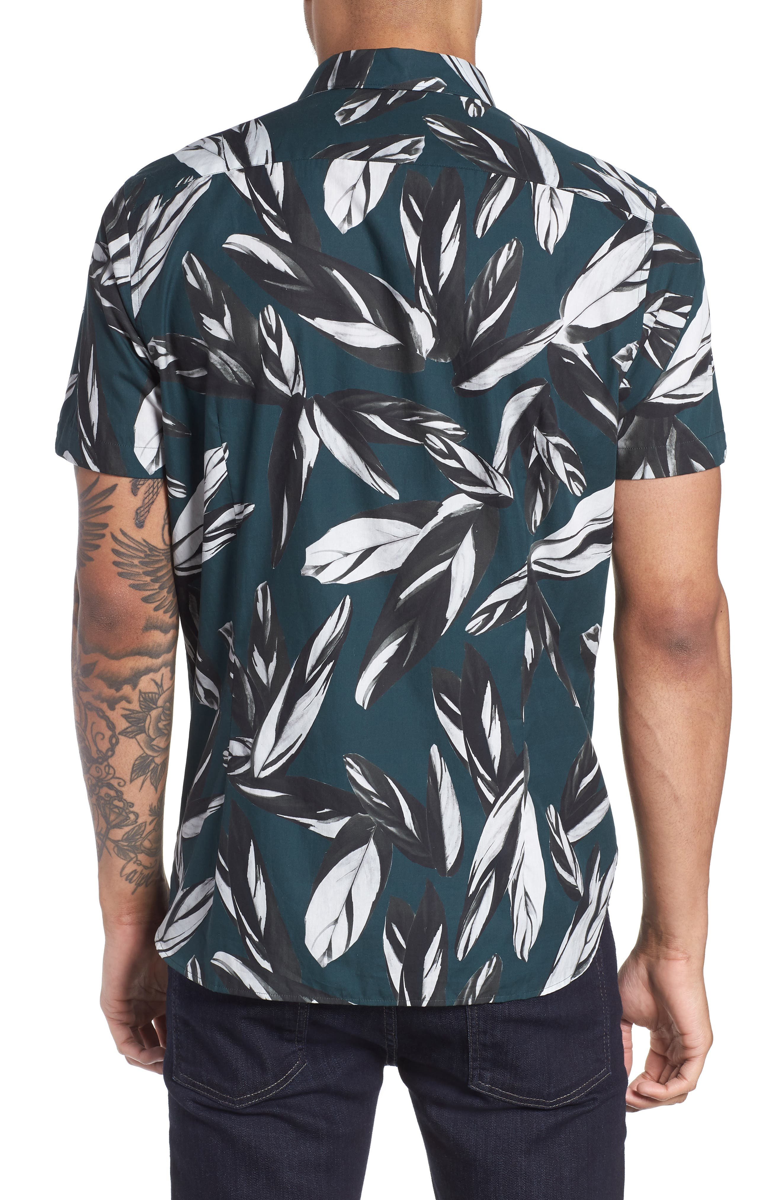 Parrot Print Short Sleeve Sport Shirt,                             Alternate thumbnail 3, color,                             Dark Green