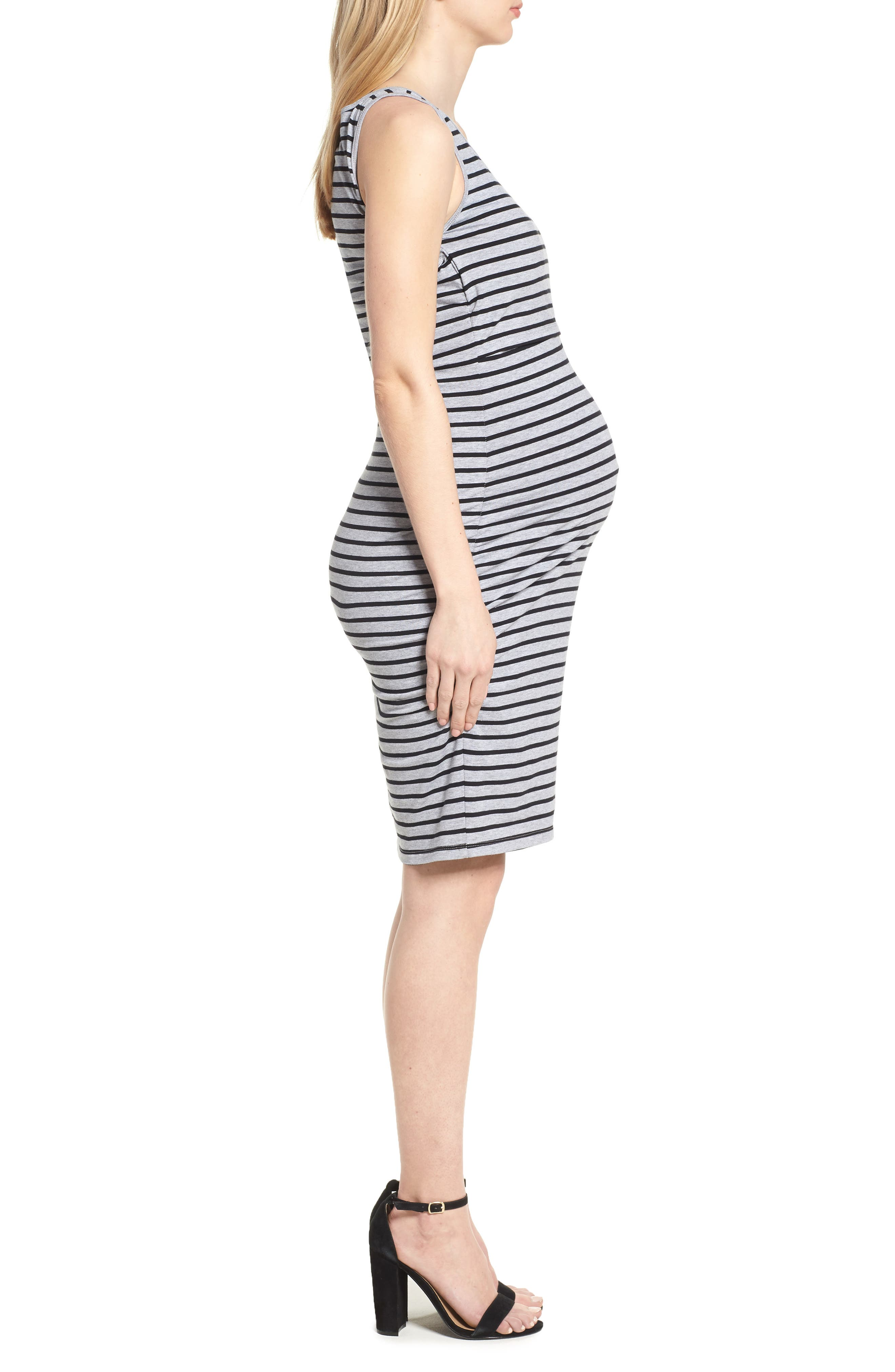 Maternity/Nursing Tank Dress,                             Alternate thumbnail 3, color,                             Grey/ Black