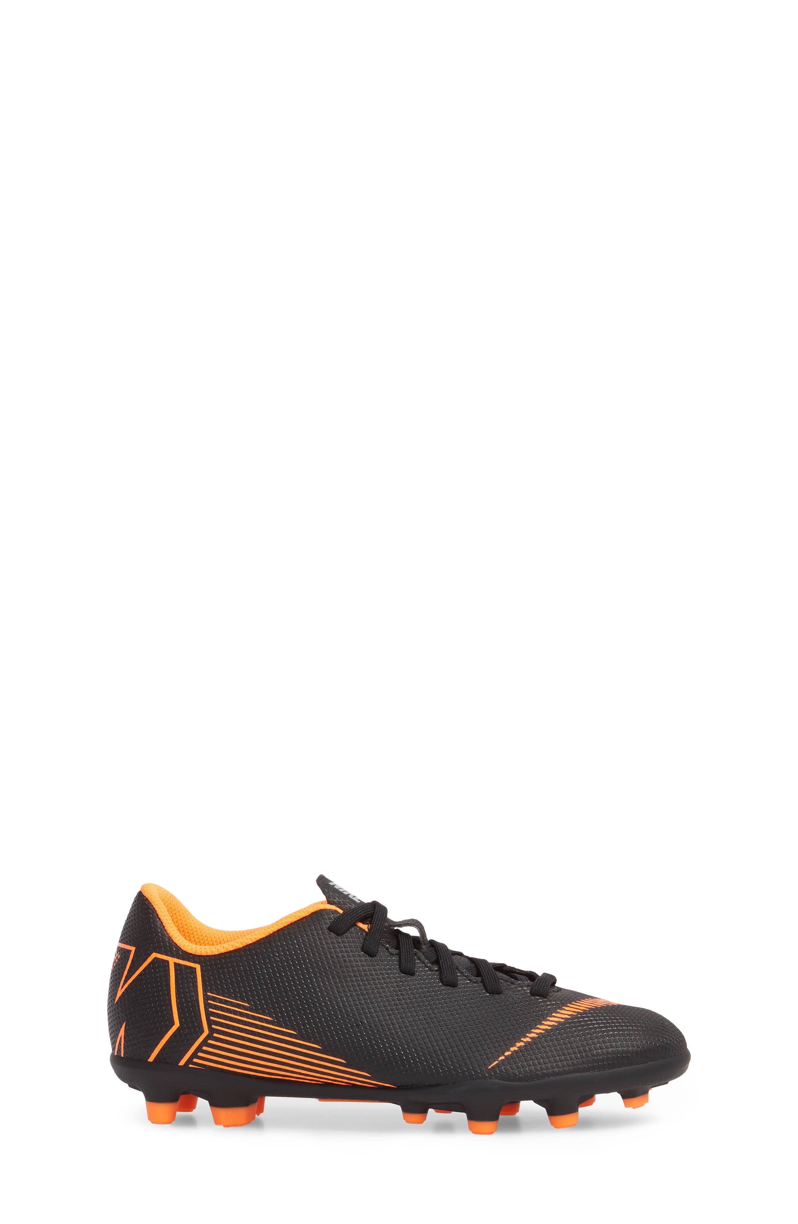Vapor XII Club Multi Ground Soccer Shoe,                             Alternate thumbnail 3, color,                             Black/ Total Orange/ White