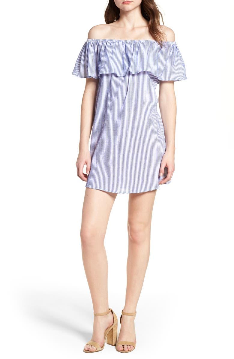 Bishop + Young Stripe Off the Shoulder Dress