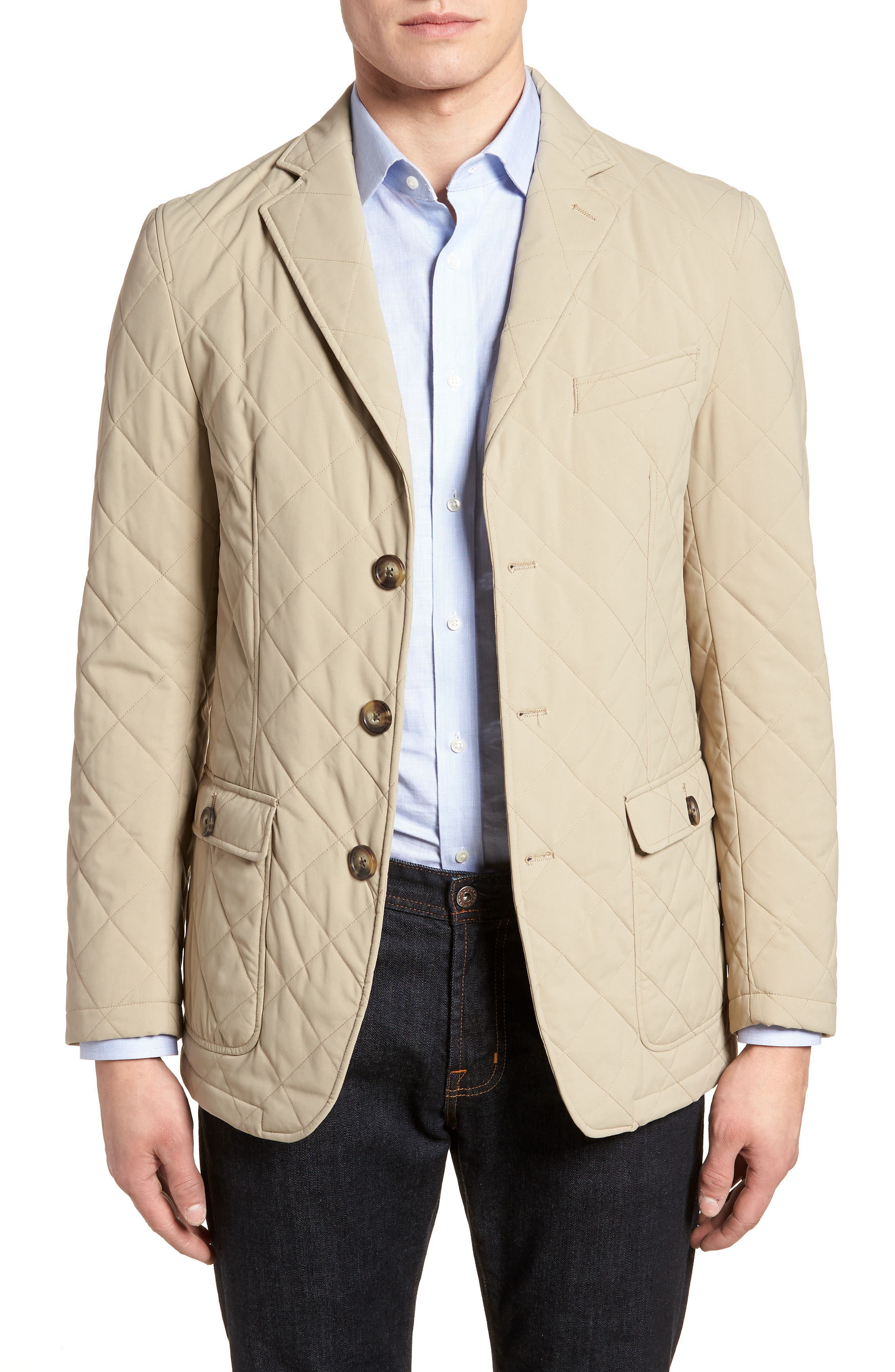 Classic Fit Quilted Blazer,                             Main thumbnail 1, color,                             Tan