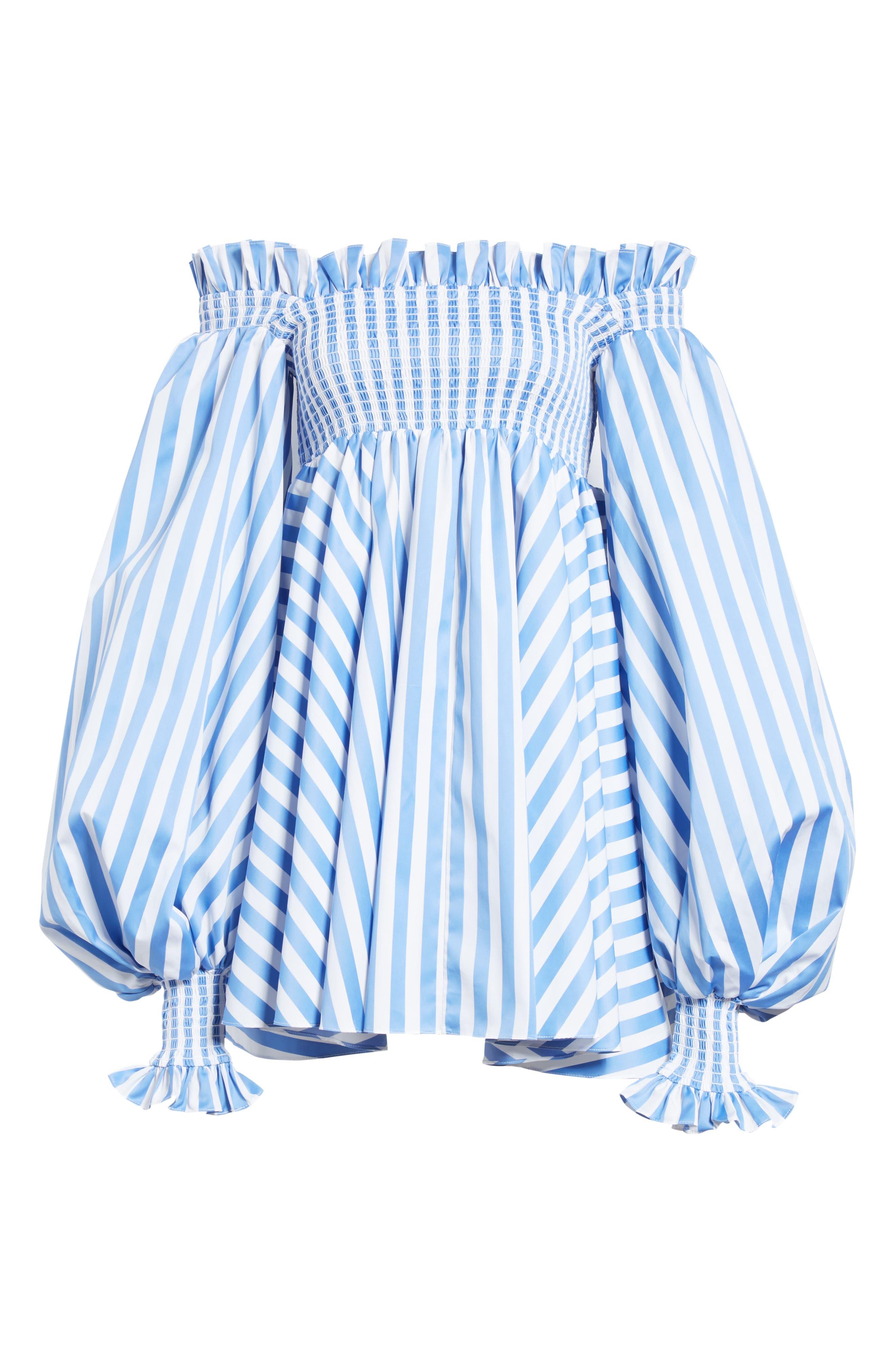 Kora Stripe Off the Shoulder Dress,                             Alternate thumbnail 6, color,                             Blue/ White