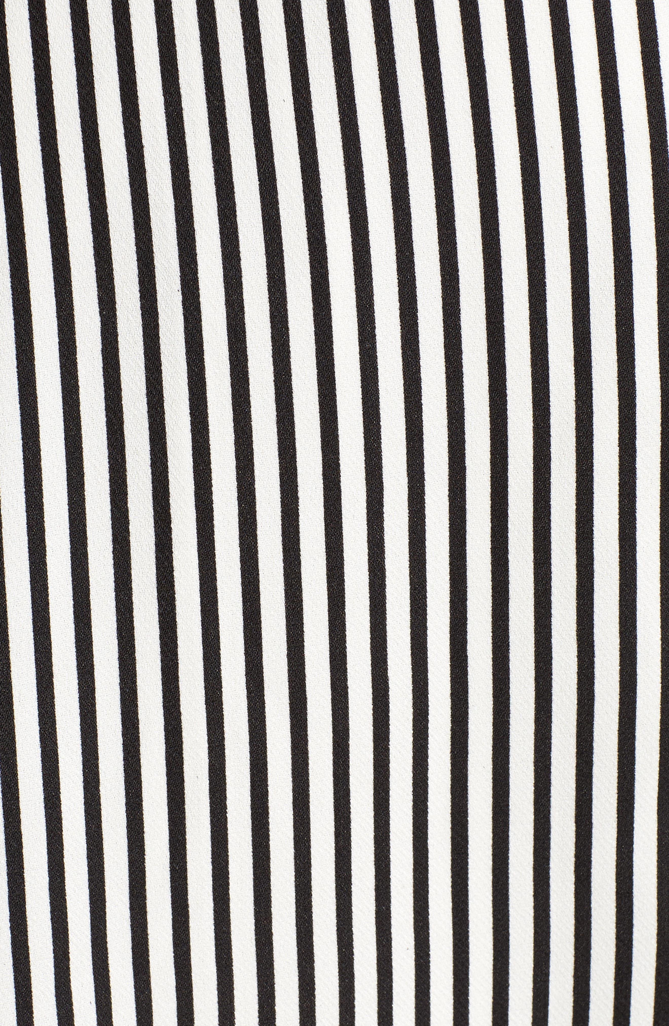 Bishop + Young Ana Stripe Shark Bite Hem Halter Dress,                             Alternate thumbnail 6, color,                             Black Stripe