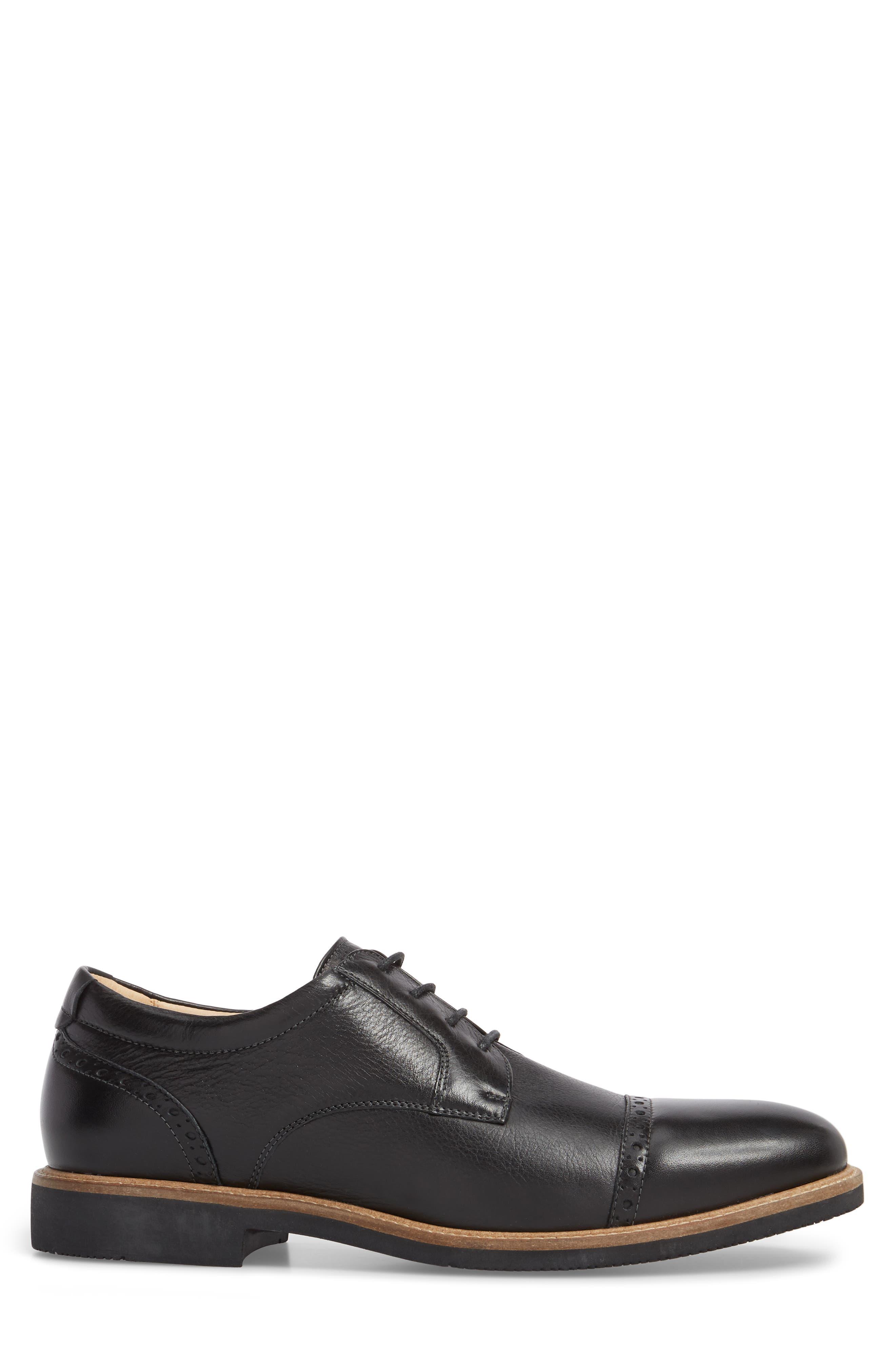 Barlow Cap Toe Derby,                             Alternate thumbnail 3, color,                             Black Leather