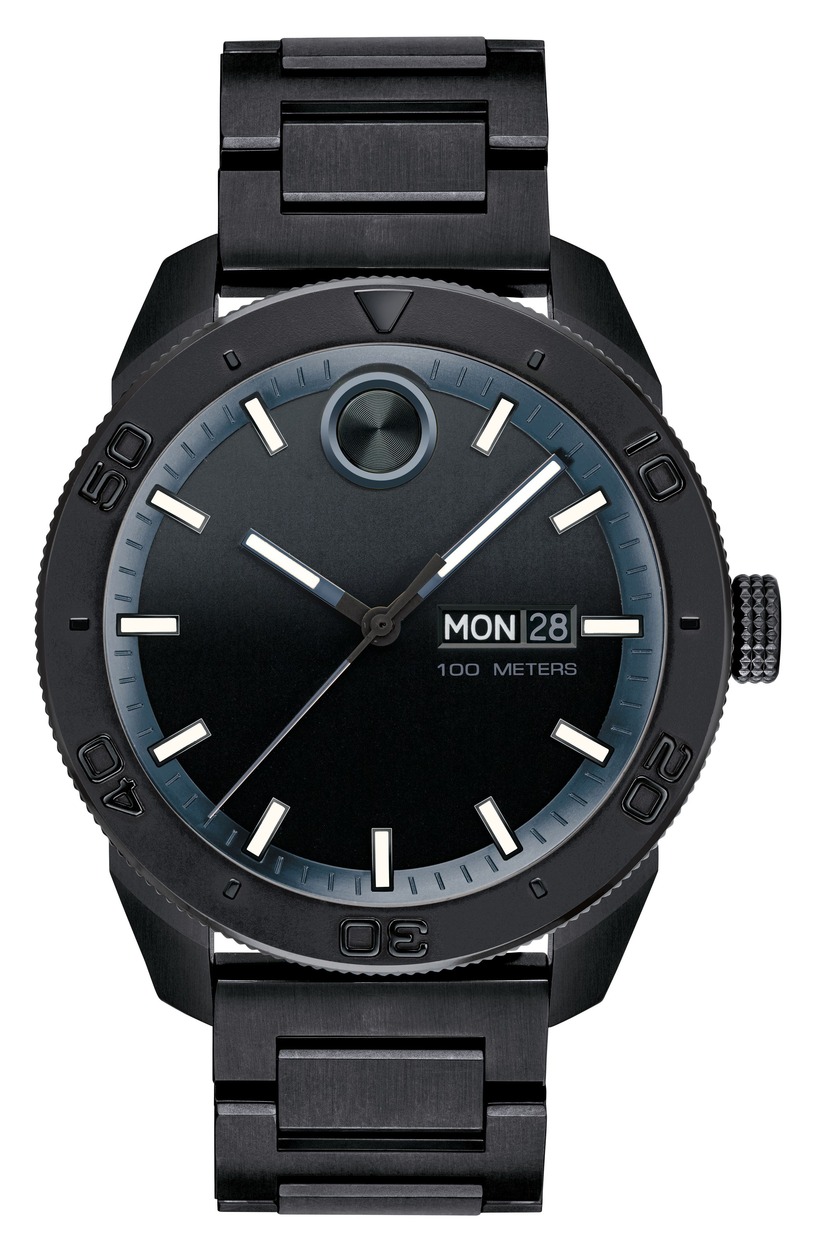 Bold Bracelet Watch, 43.5mm,                             Main thumbnail 1, color,                             Black