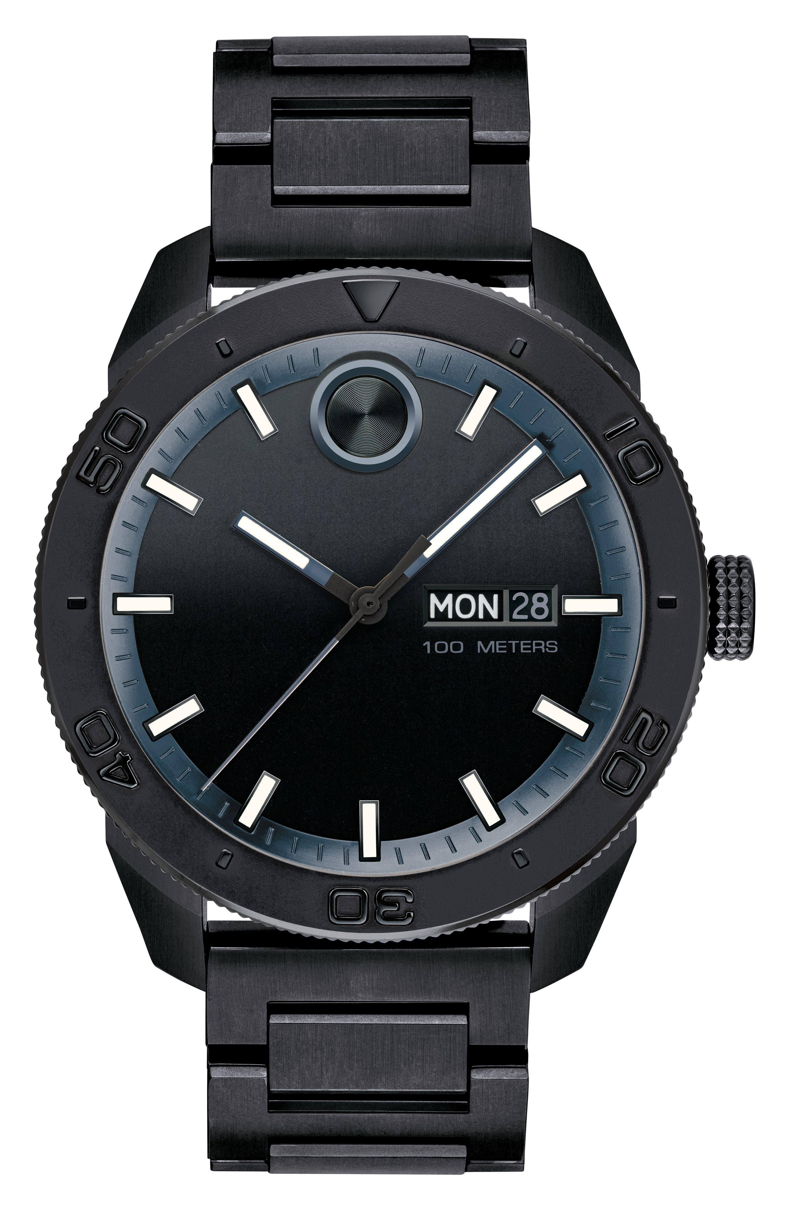Bold Bracelet Watch, 43.5mm,                         Main,                         color, Black