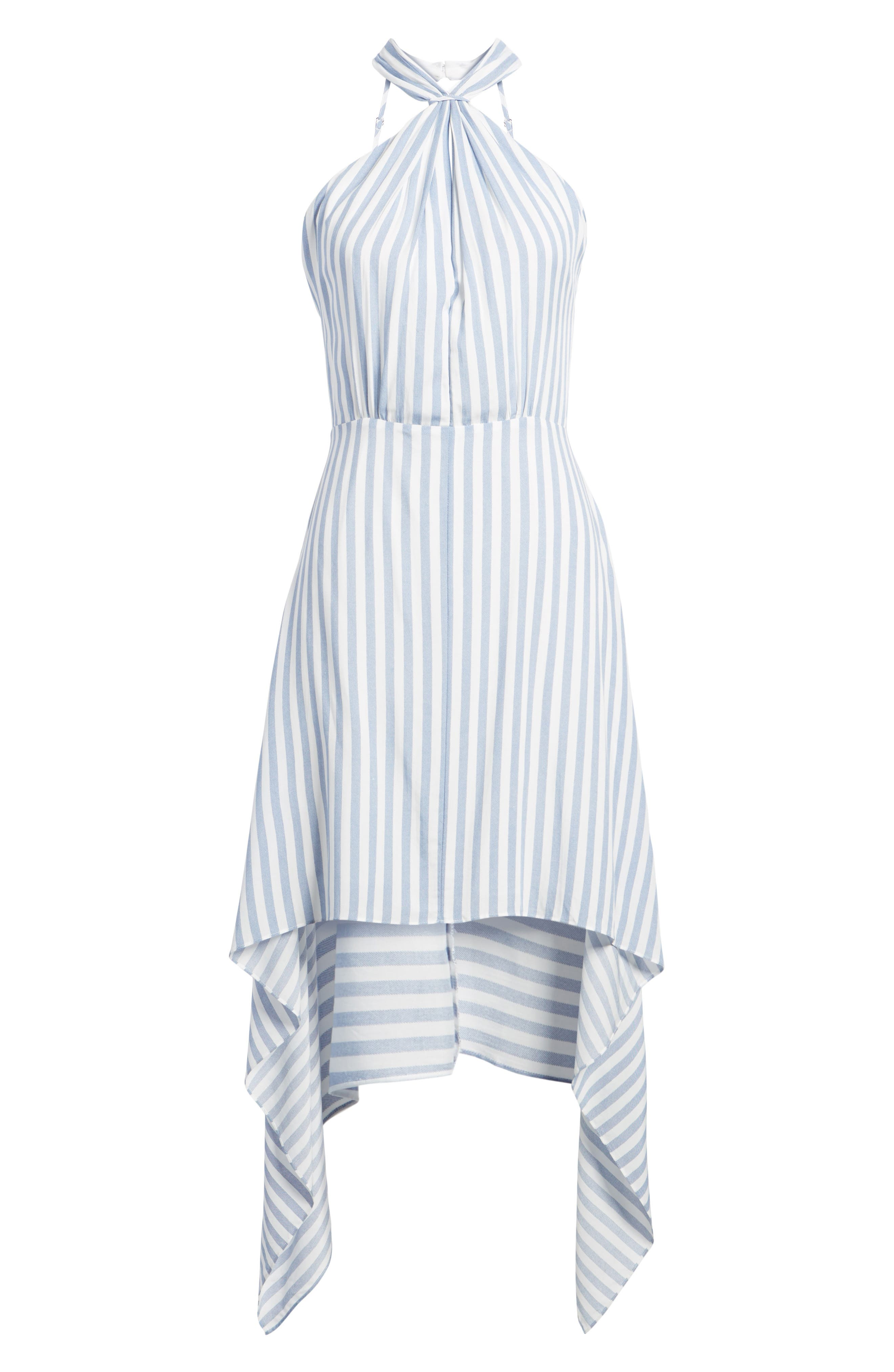 Bishop + Young Ana Stripe Shark Bite Hem Halter Dress,                             Alternate thumbnail 7, color,                             Blue White Stripe
