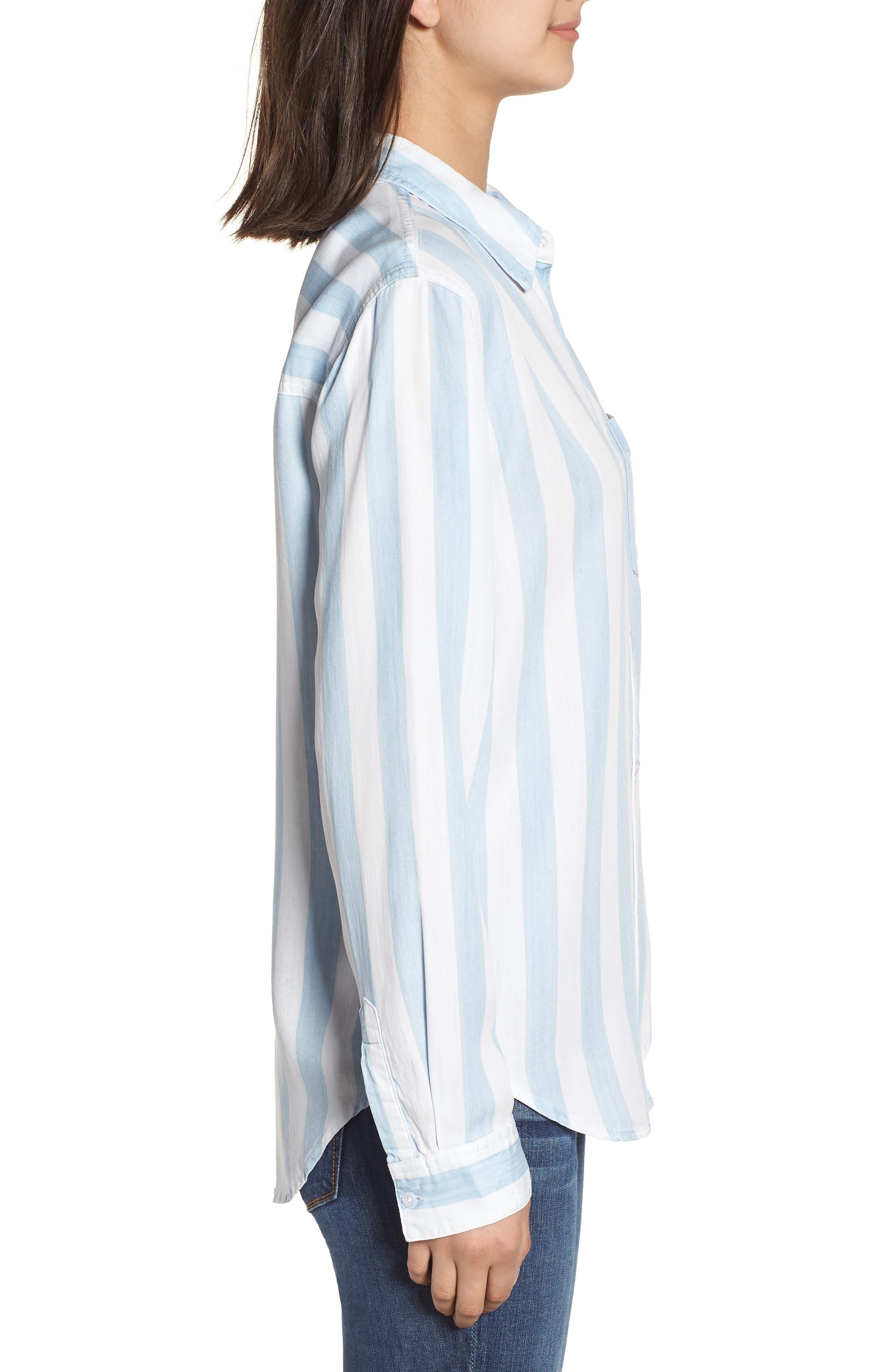 Ingrid Stripe Chambray Shirt,                             Alternate thumbnail 3, color,                             Block Stripe
