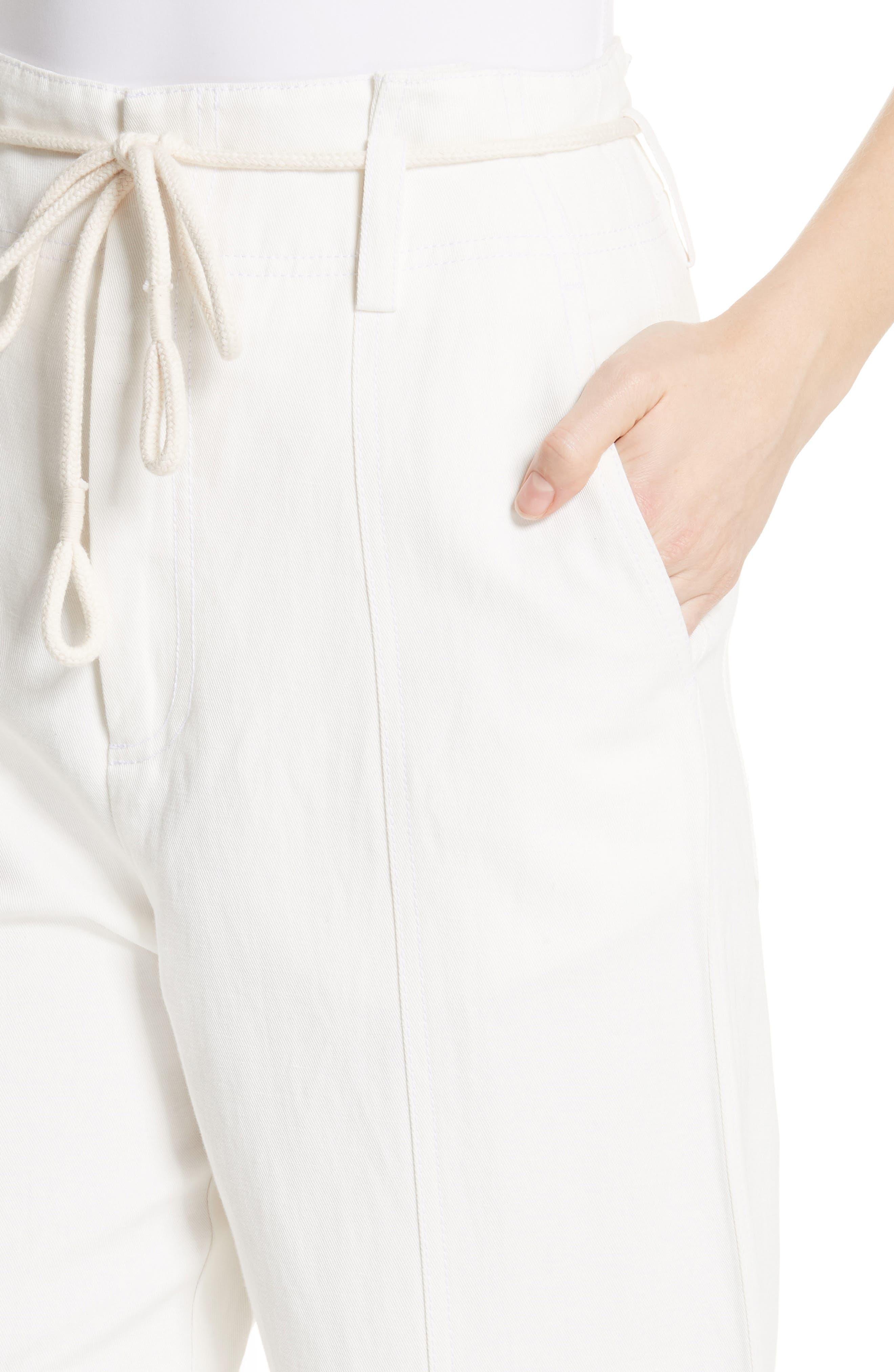 High Rise Linen Cotton Crop Pants,                             Alternate thumbnail 4, color,                             Off White
