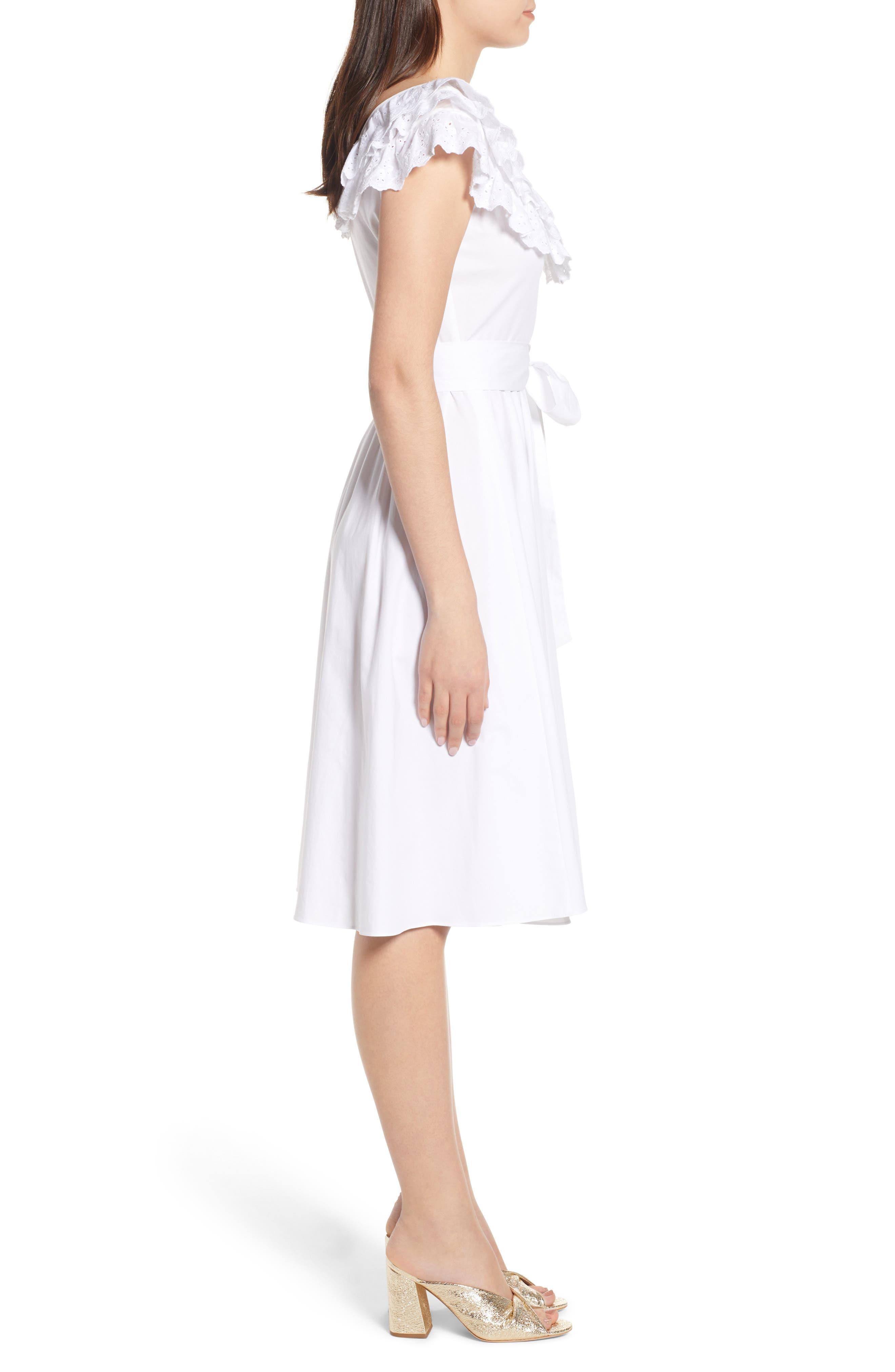 Ruffle Eyelet Dress,                             Alternate thumbnail 3, color,                             White
