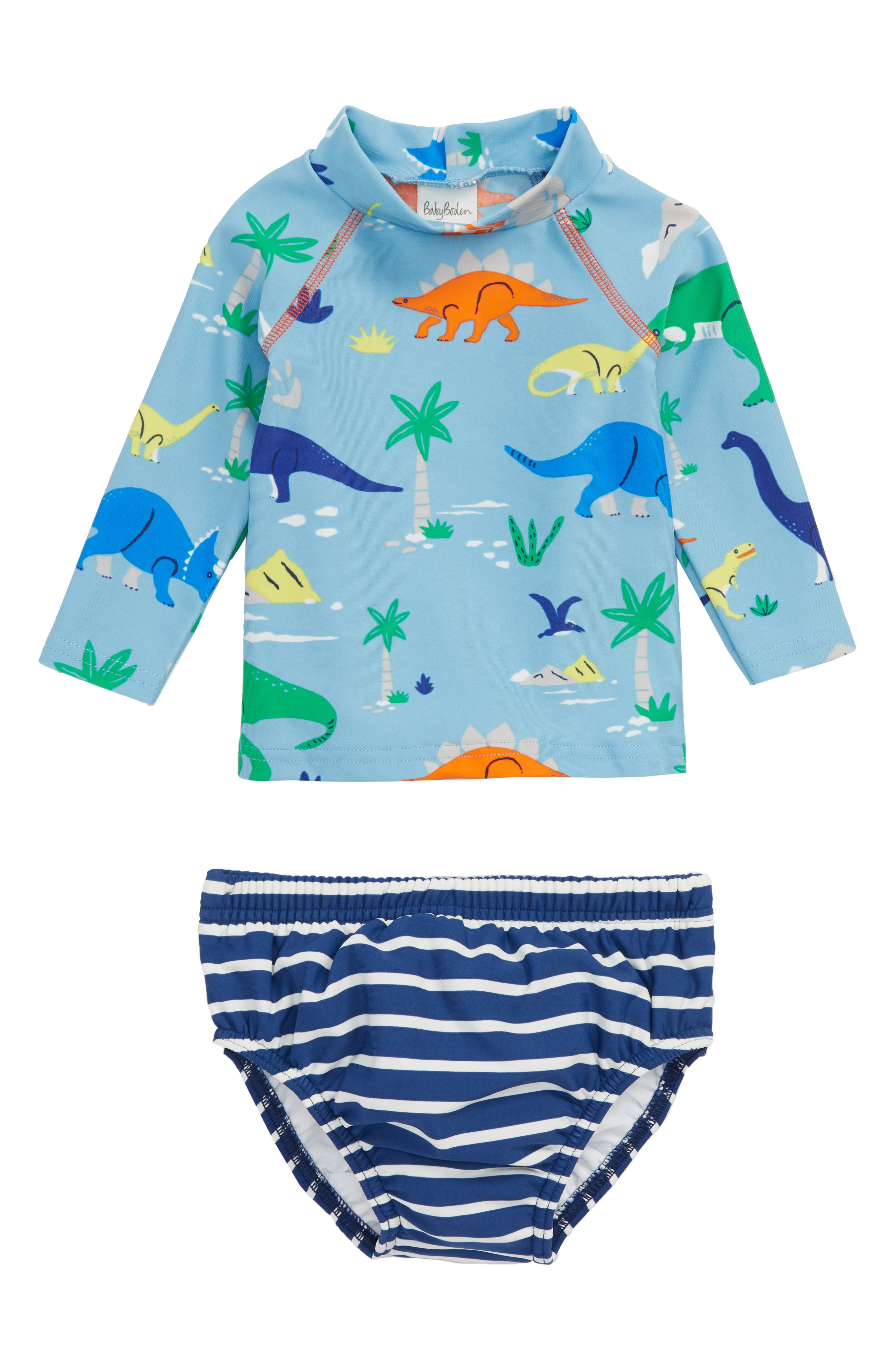Mini Boden Two-Piece Rashguard Swimsuit (Baby Boys)