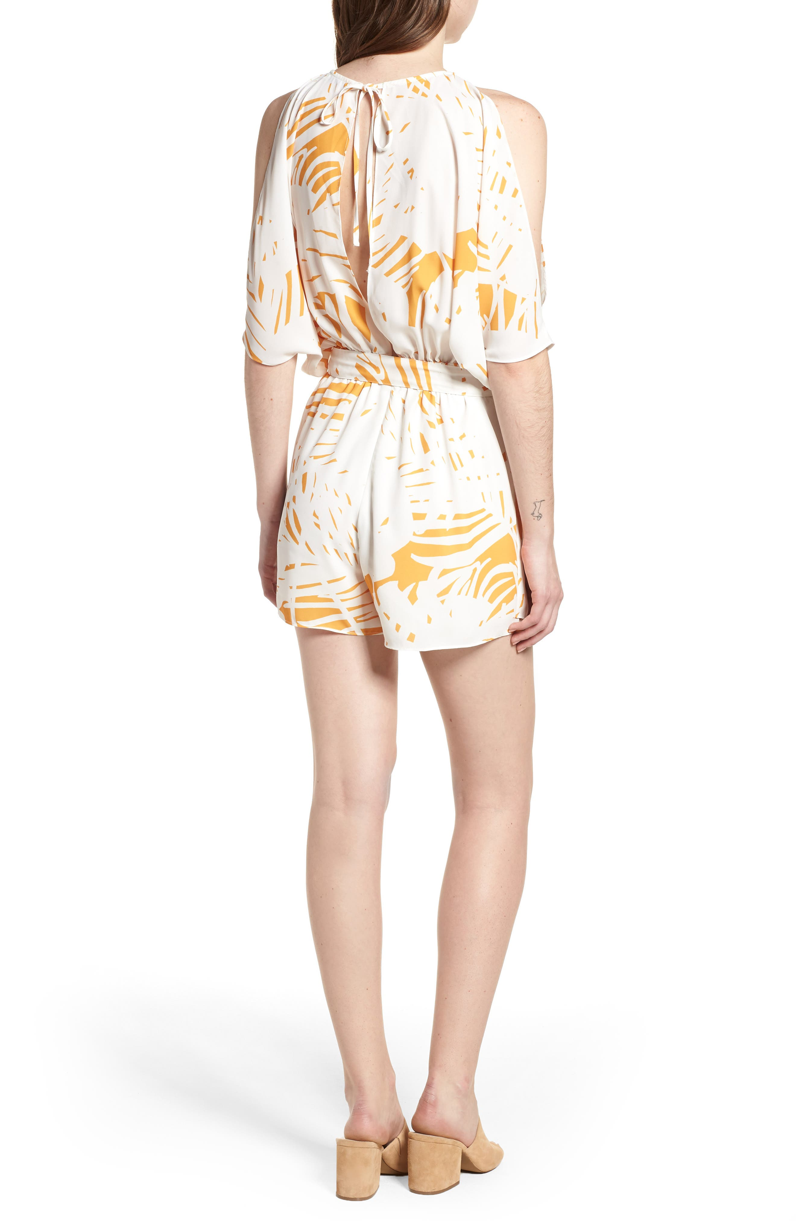 Bishop + Young Jet Set Cold Shoulder Romper,                             Alternate thumbnail 2, color,                             Riviera Print