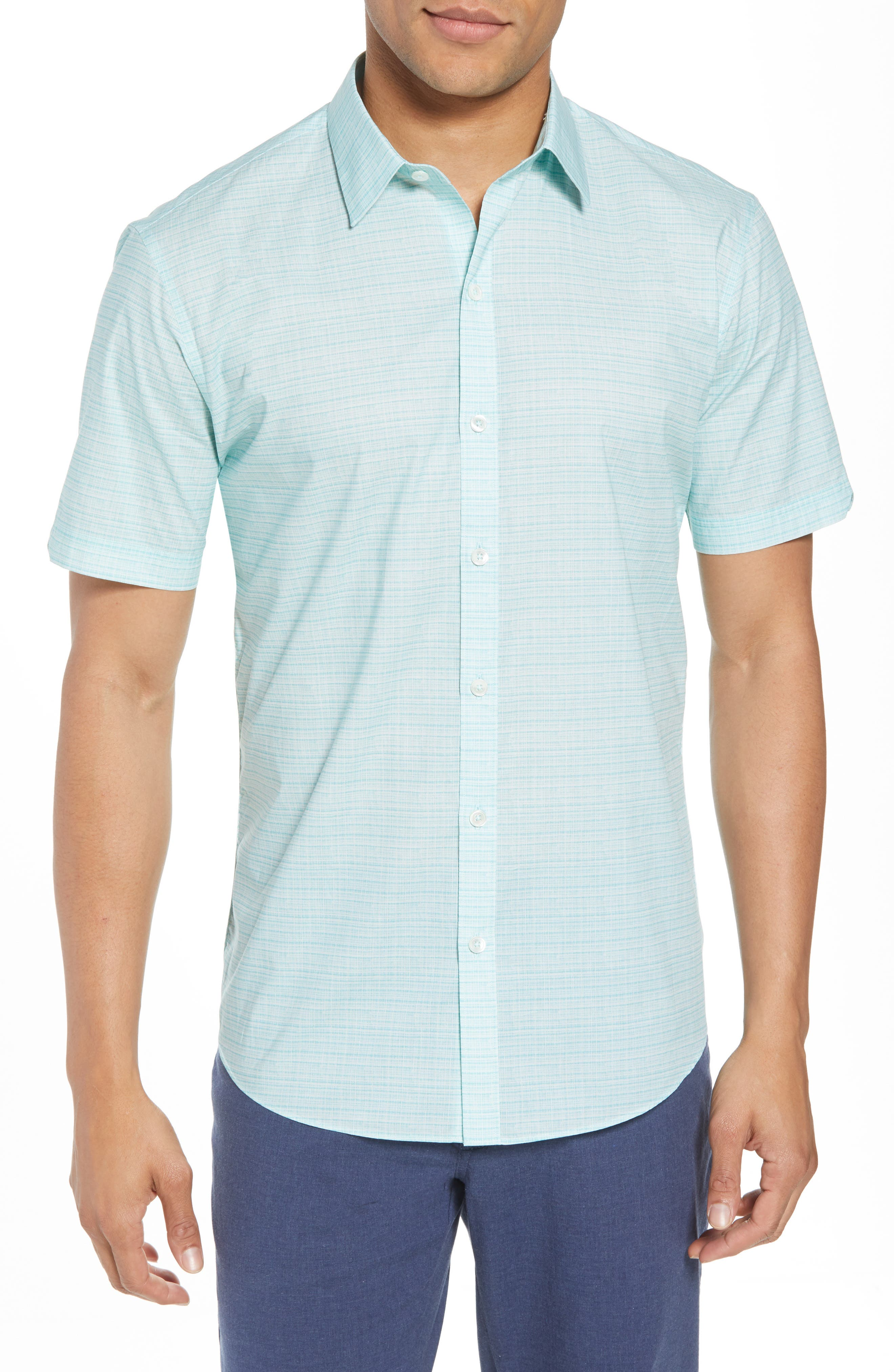 Nolan Grid Print Sport Shirt,                         Main,                         color, Mint
