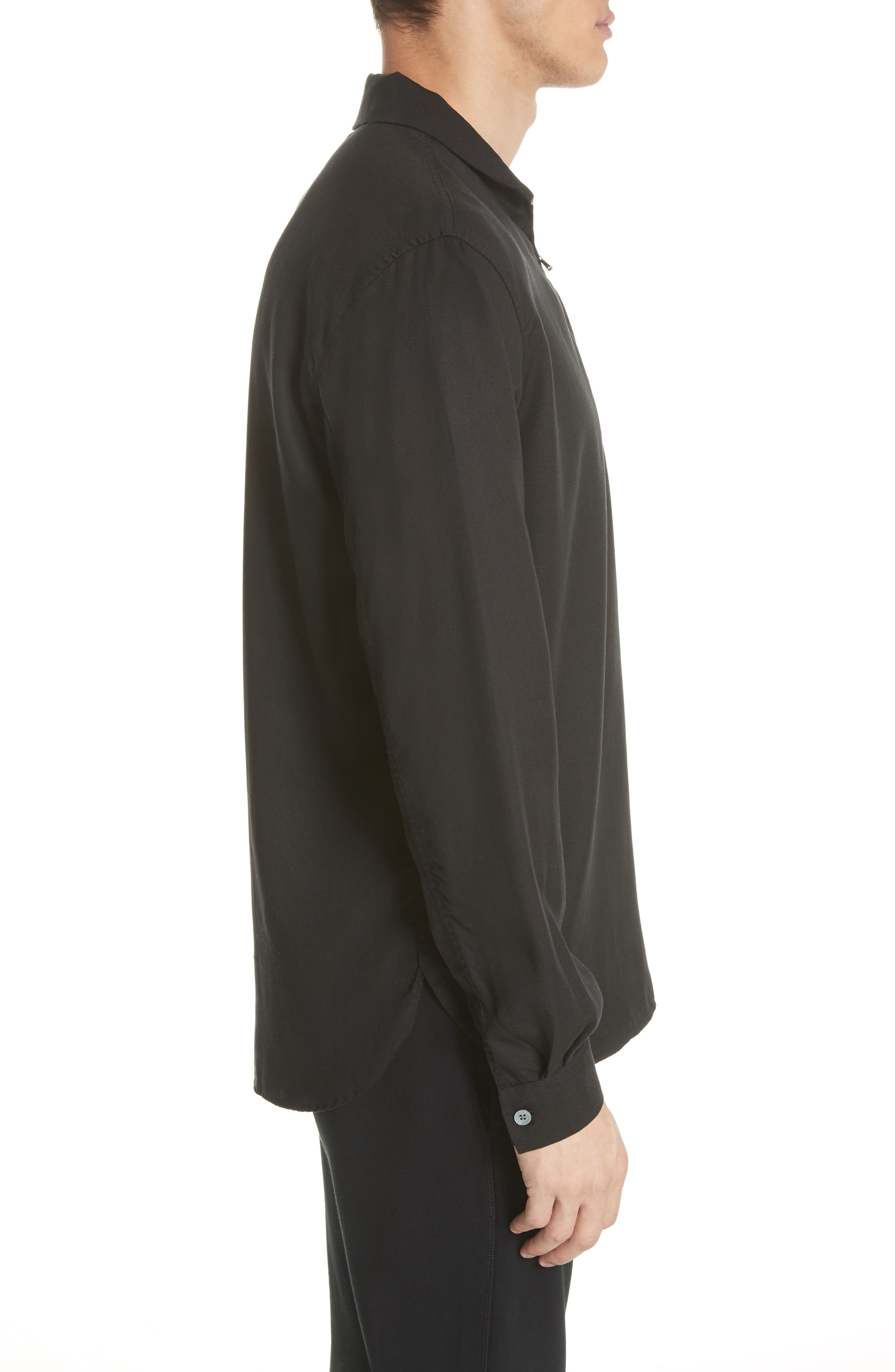 Zip Shirt Jacket,                             Alternate thumbnail 4, color,                             Black
