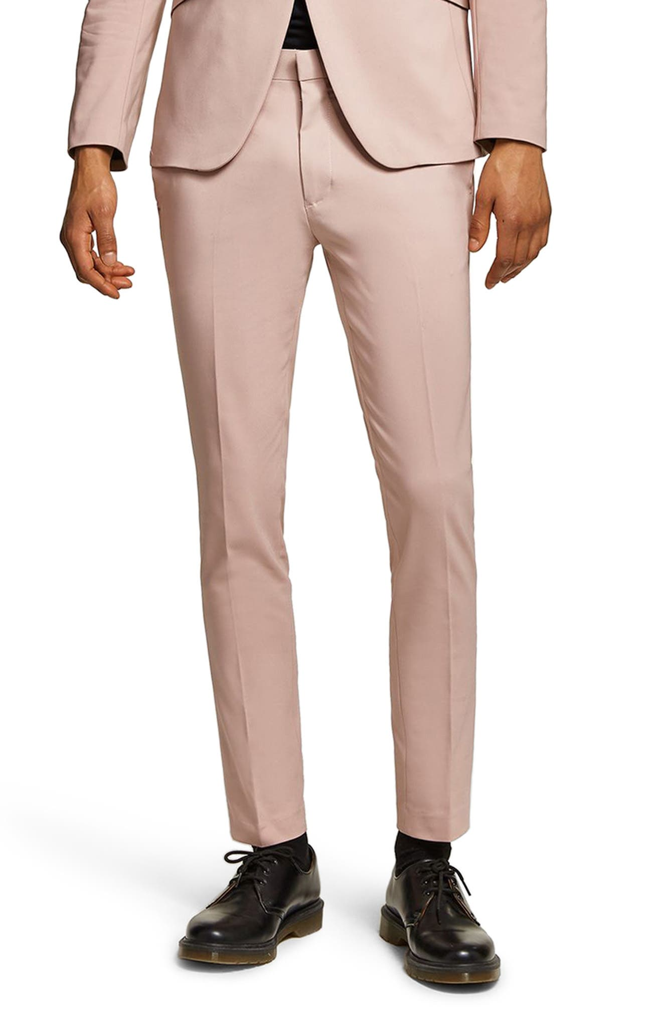 Skinny Fit Suit Trousers,                         Main,                         color, Pink