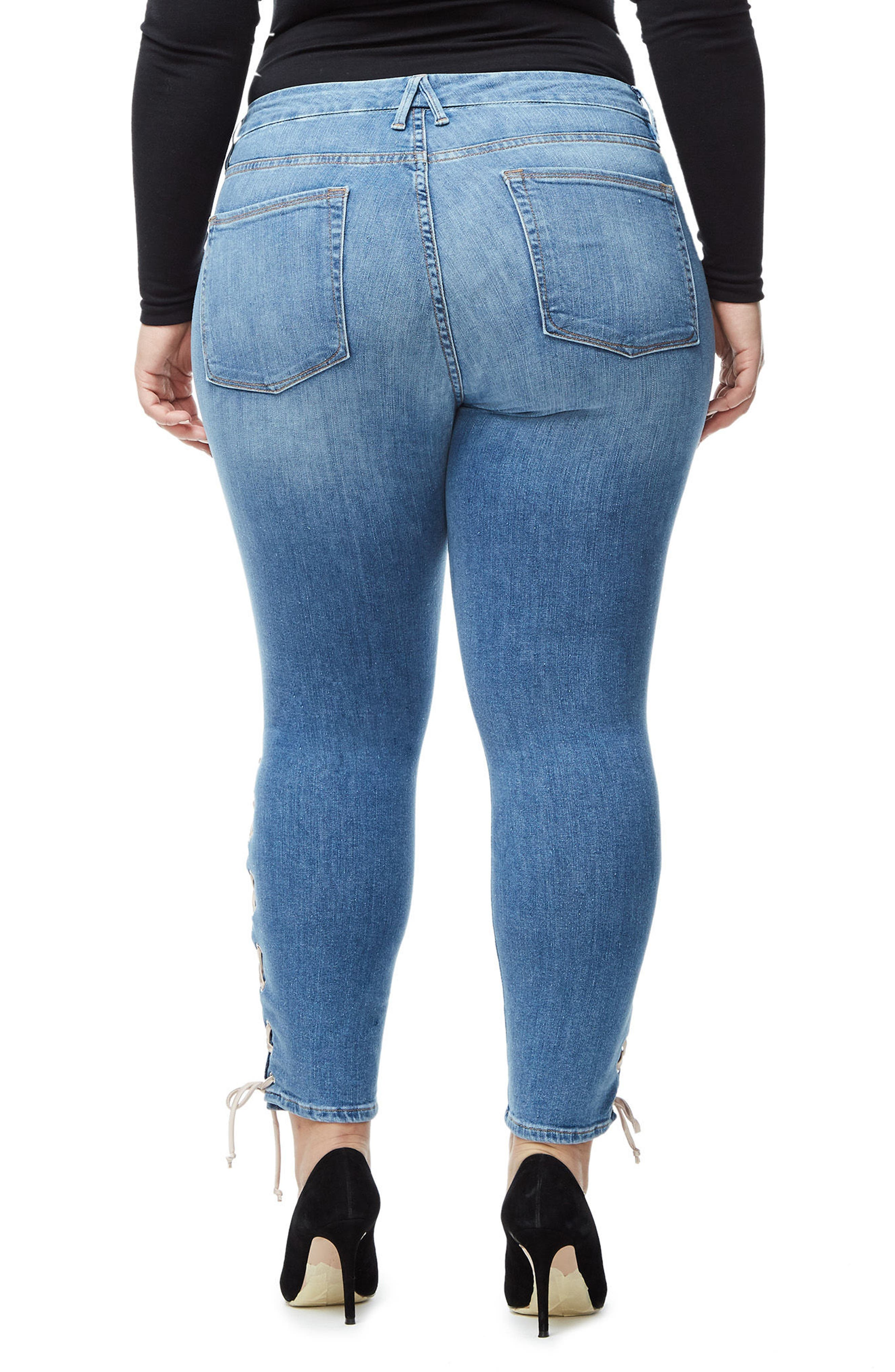 Good Legs Lace-Up High Waist Skinny Jeans,                             Alternate thumbnail 5, color,                             Blue045