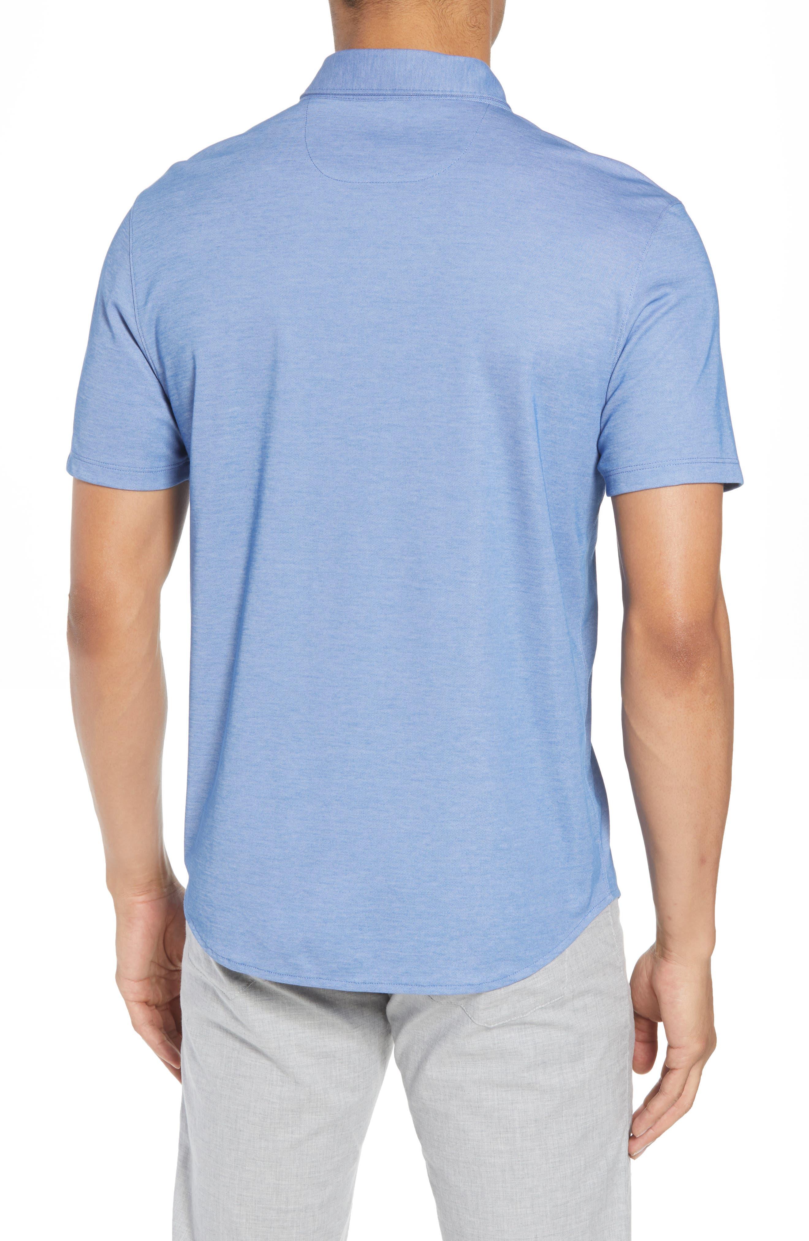 Caruth Piqué Sport Shirt,                             Alternate thumbnail 2, color,                             Azure