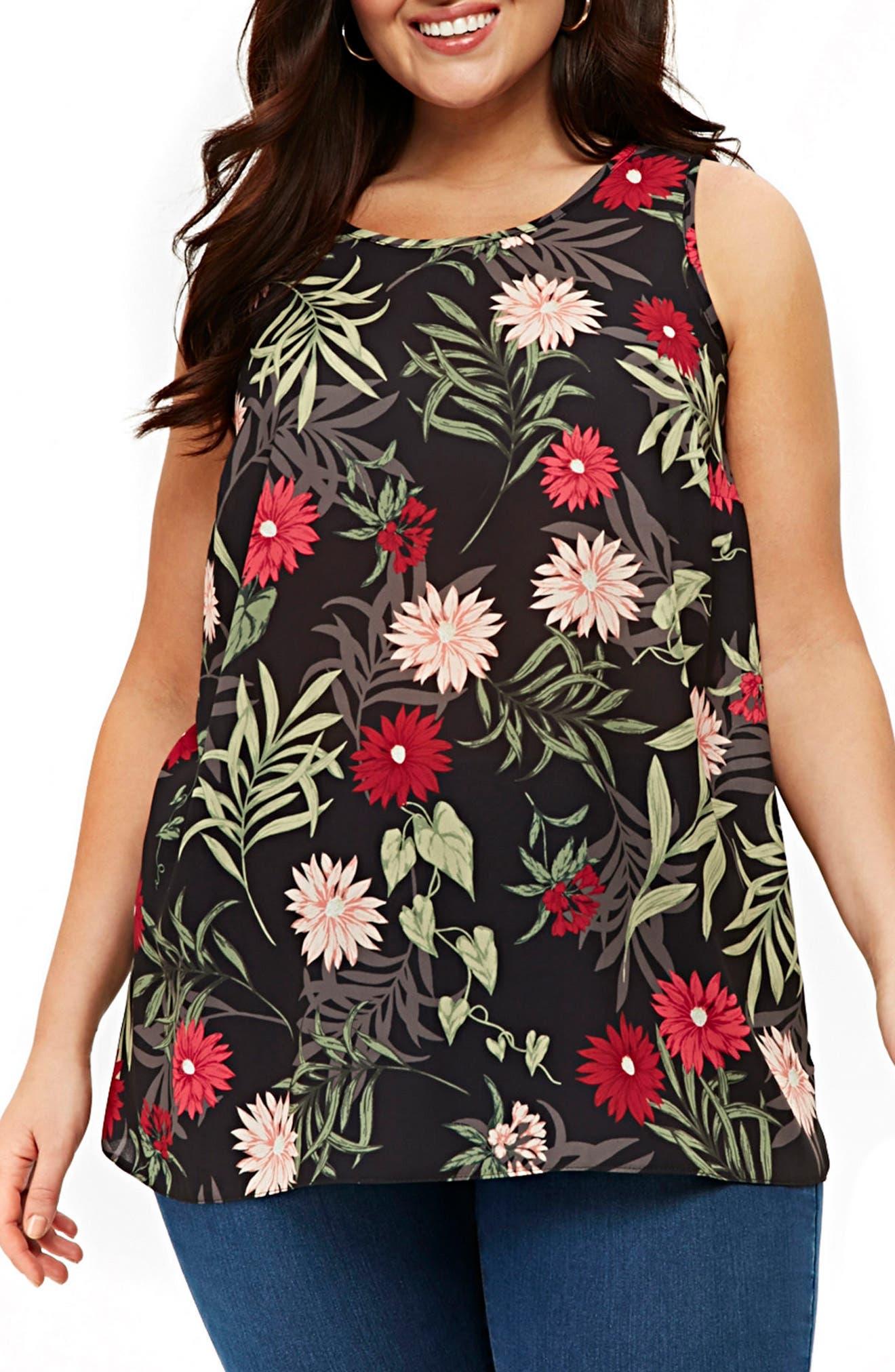 Tropical Print Tunic Top,                         Main,                         color, Dark Multi