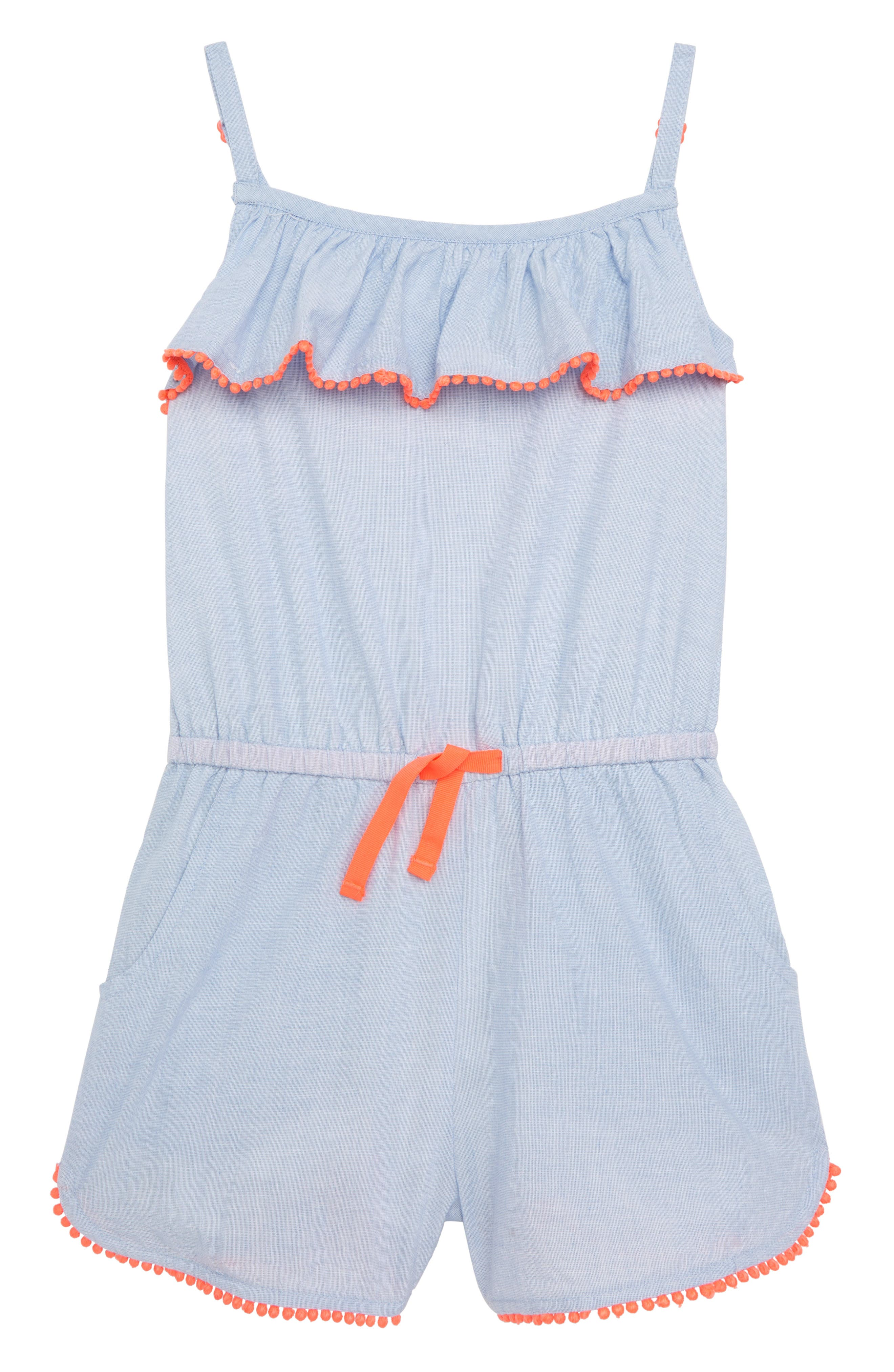 Strappy Frill Romper,                             Main thumbnail 1, color,                             Chambray Blue Blu