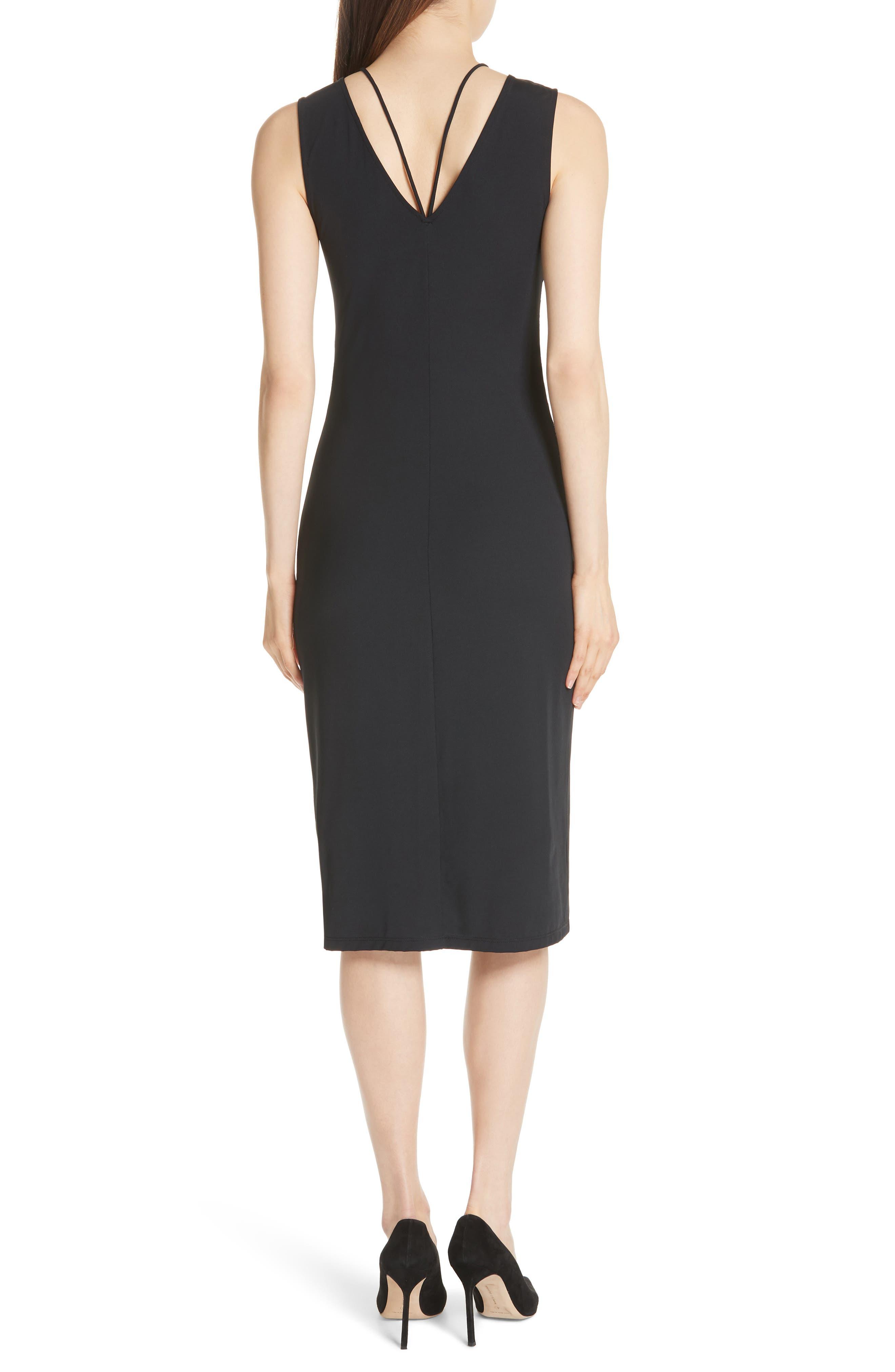 Ruched Tie Travel Midi Dress,                             Alternate thumbnail 2, color,                             Black