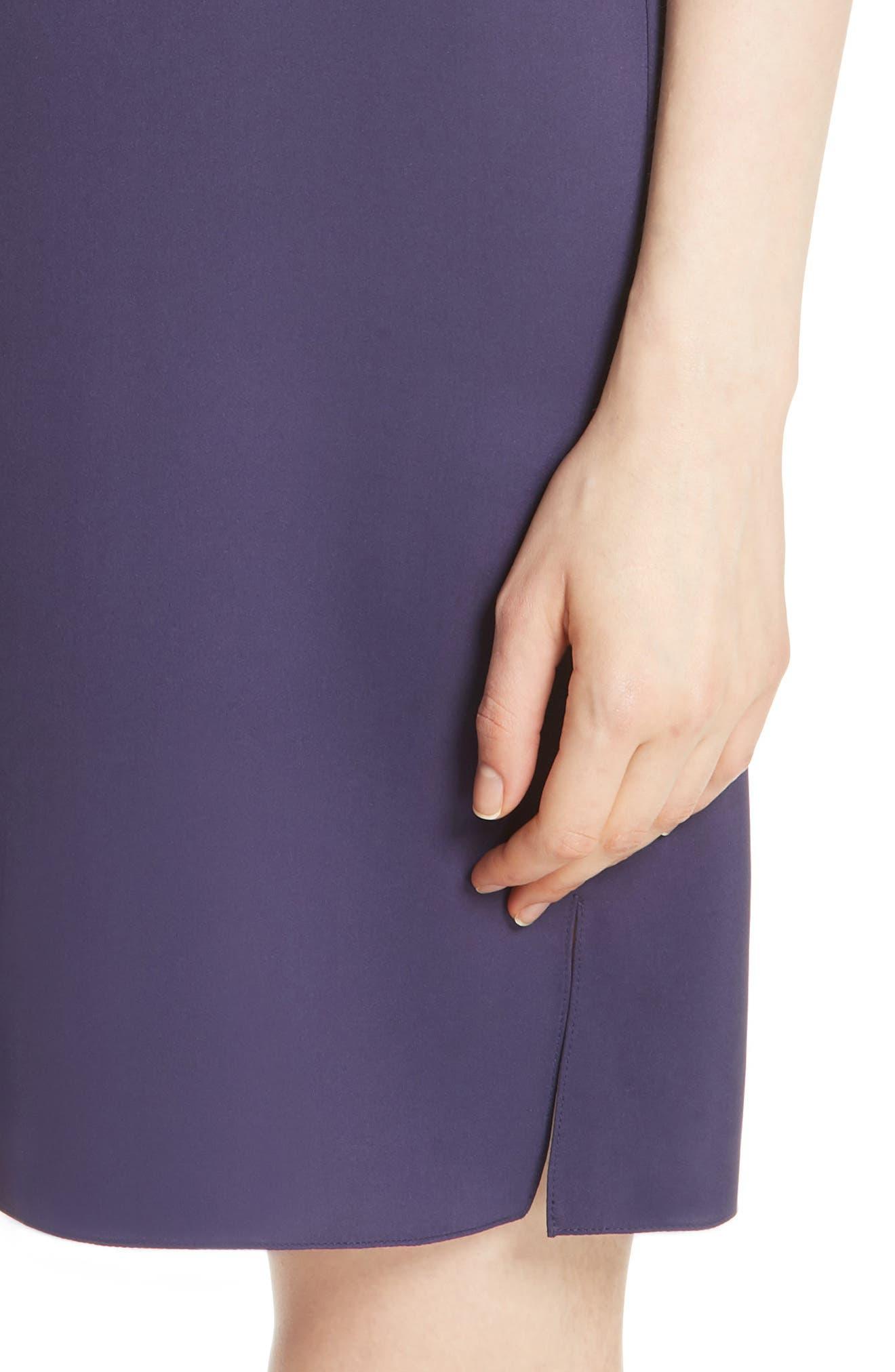 Modern Silk T-Shirt Dress,                             Alternate thumbnail 4, color,                             Plum Purple