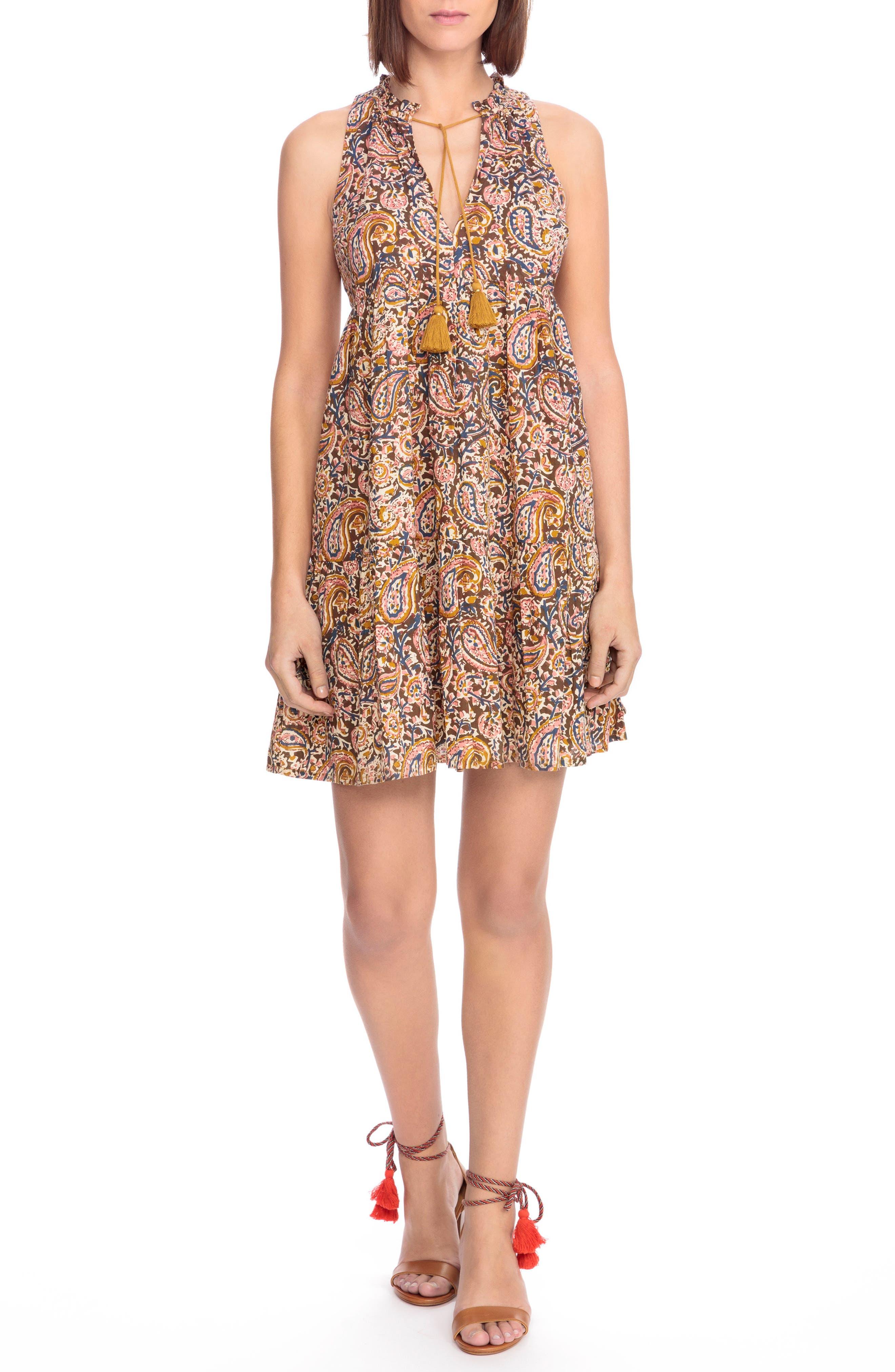Arielle Paisley A-Line Dress,                             Main thumbnail 1, color,                             Indian Cashmere Print