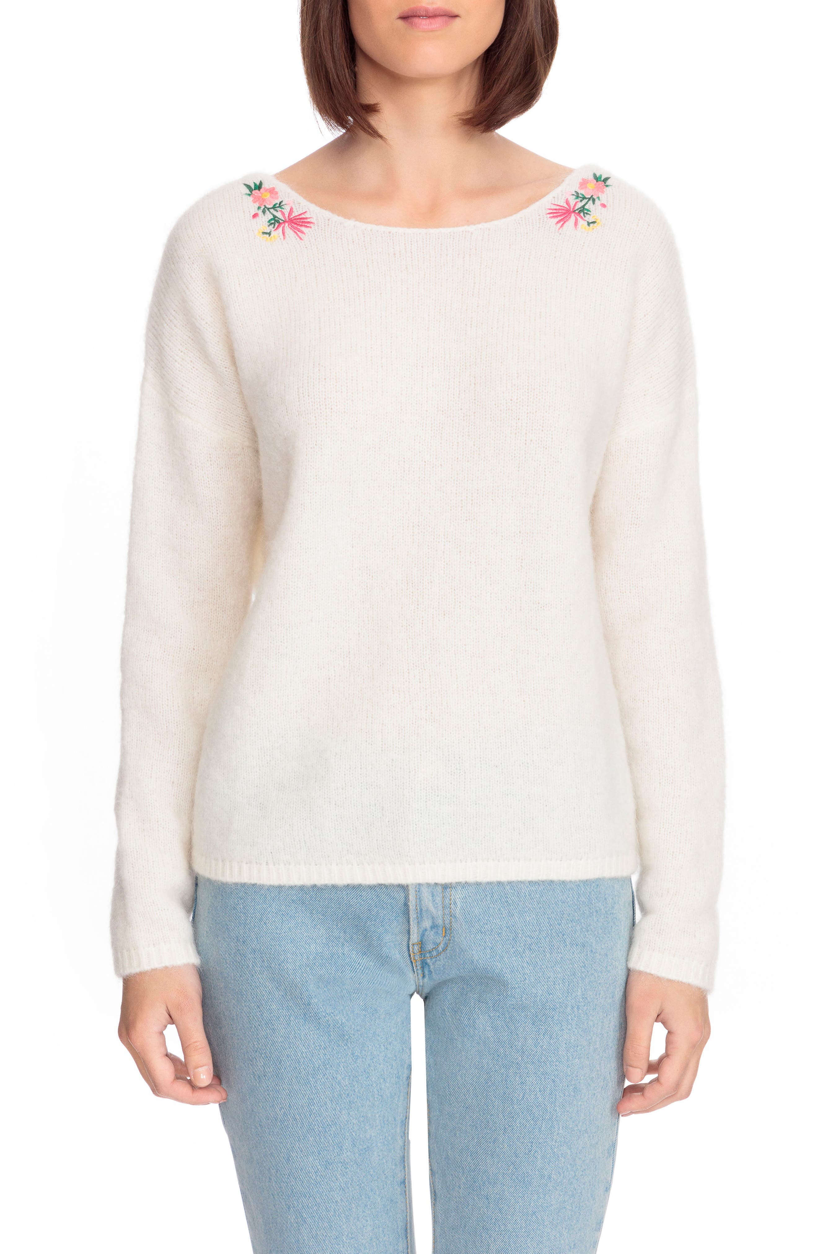 Cassiopee Embroidered Sweater,                             Main thumbnail 1, color,                             Off White