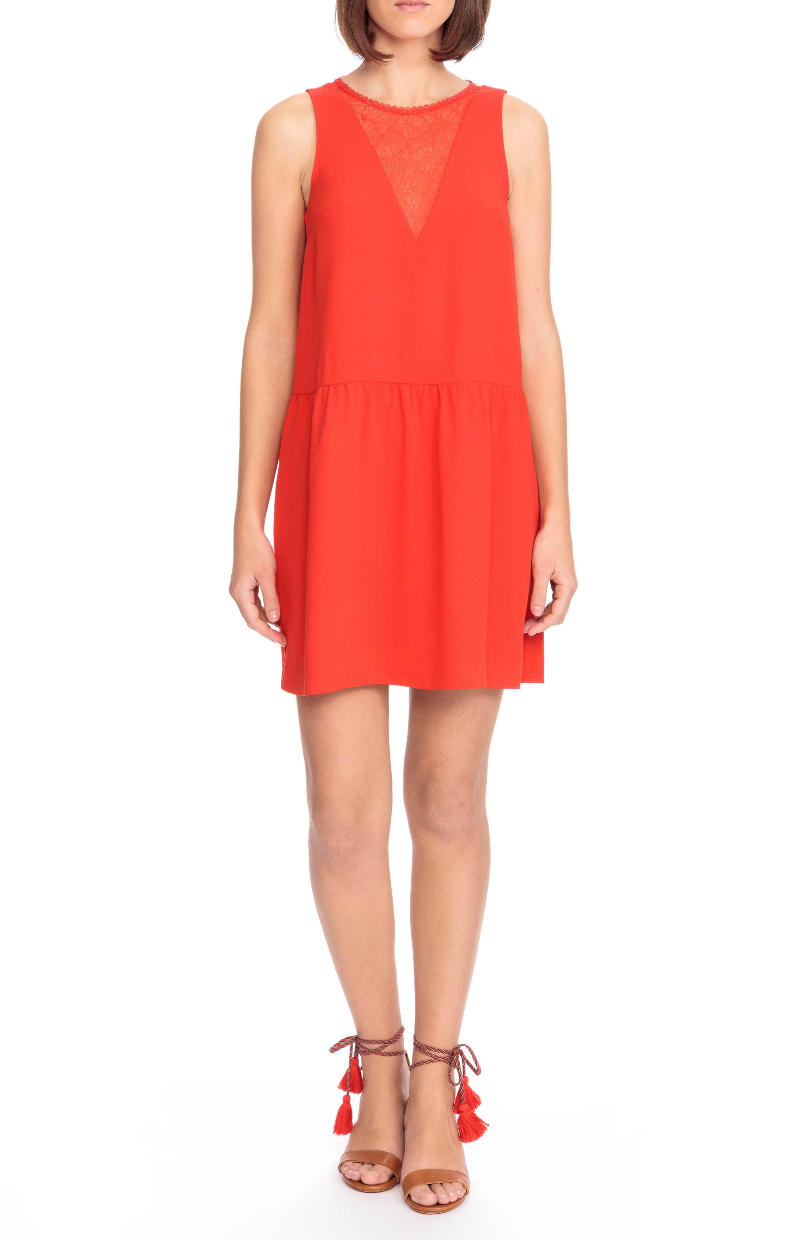 Rosalie Lace Detail Shift Dress,                             Main thumbnail 1, color,                             Coral Red