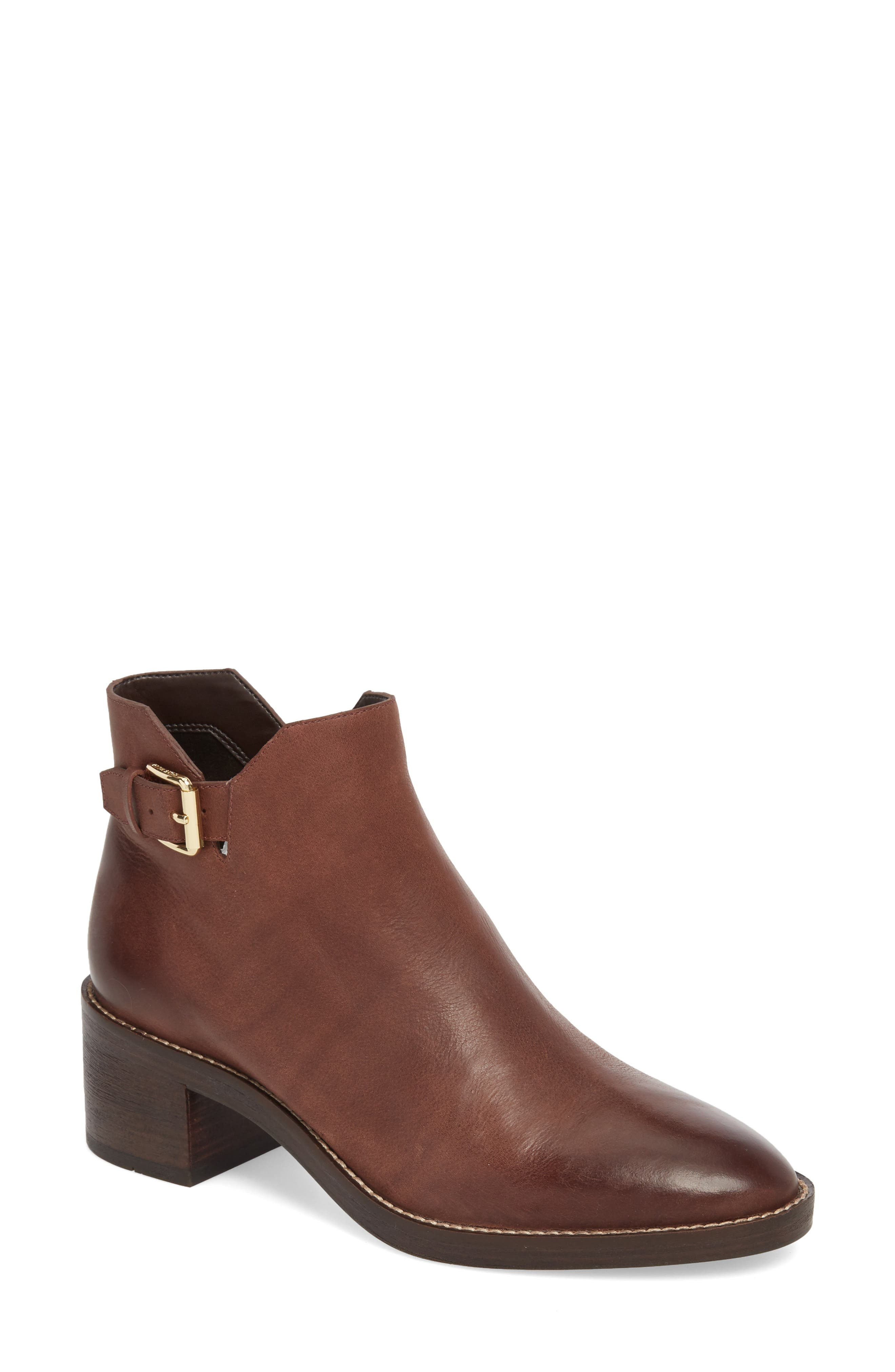 Harrington Grand Buckle Bootie,                             Main thumbnail 1, color,                             Chocolate Leather