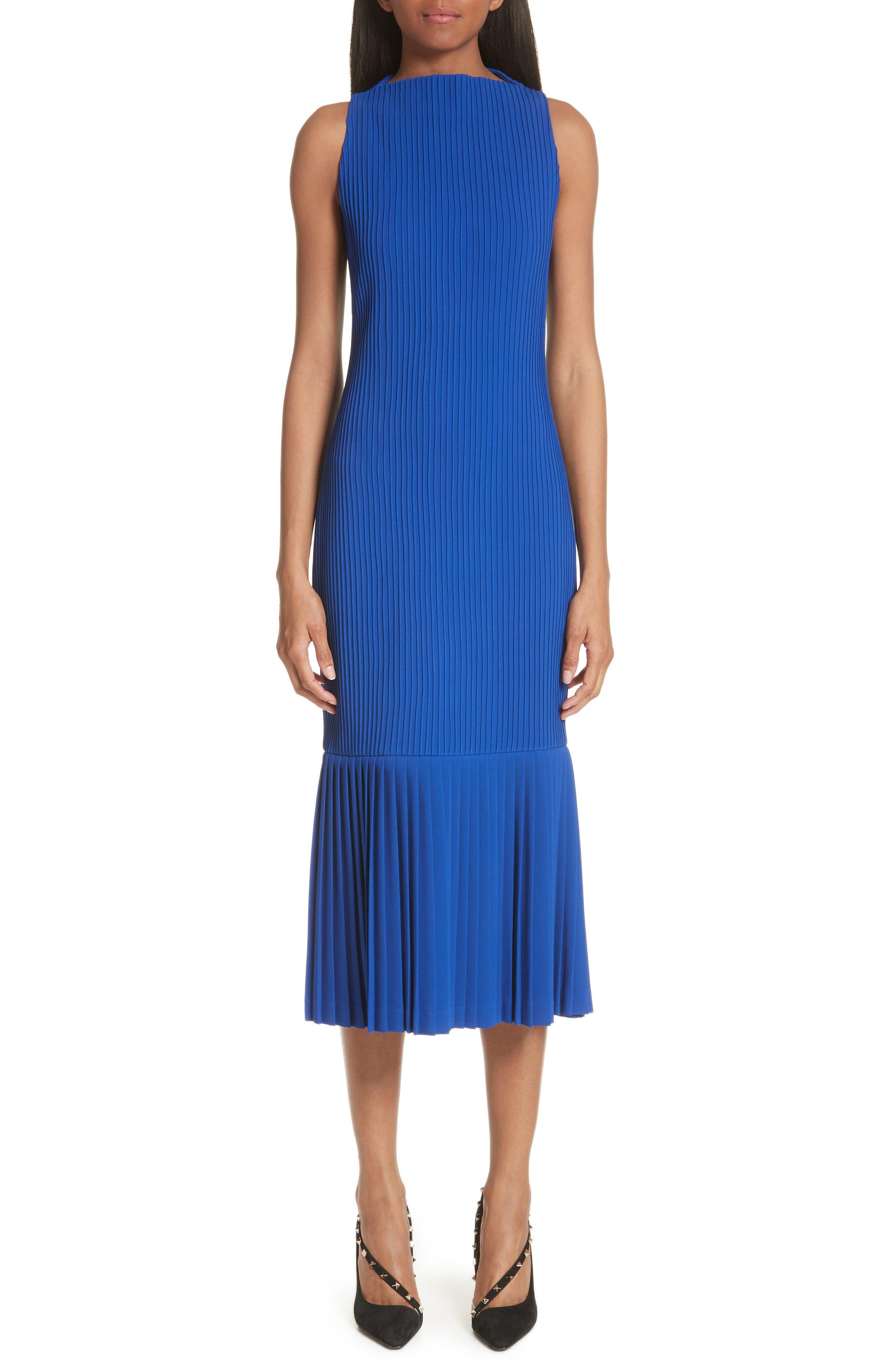 Pintuck Flare Hem Dress,                         Main,                         color, Cobalt